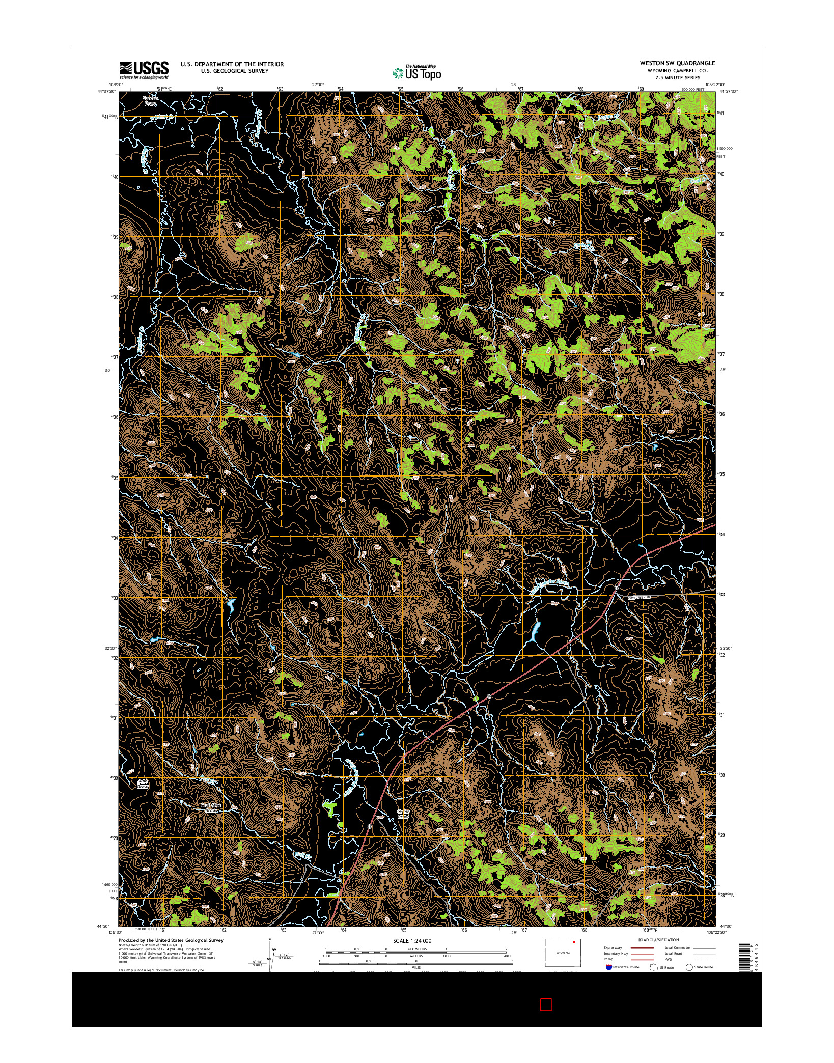 USGS US TOPO 7.5-MINUTE MAP FOR WESTON SW, WY 2015