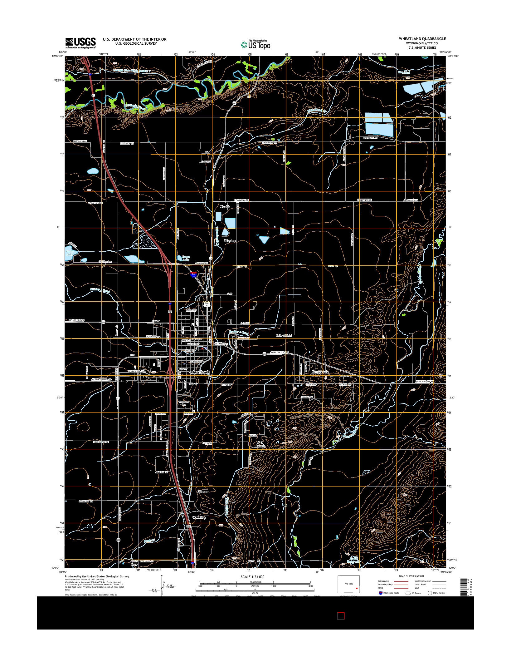 USGS US TOPO 7.5-MINUTE MAP FOR WHEATLAND, WY 2015
