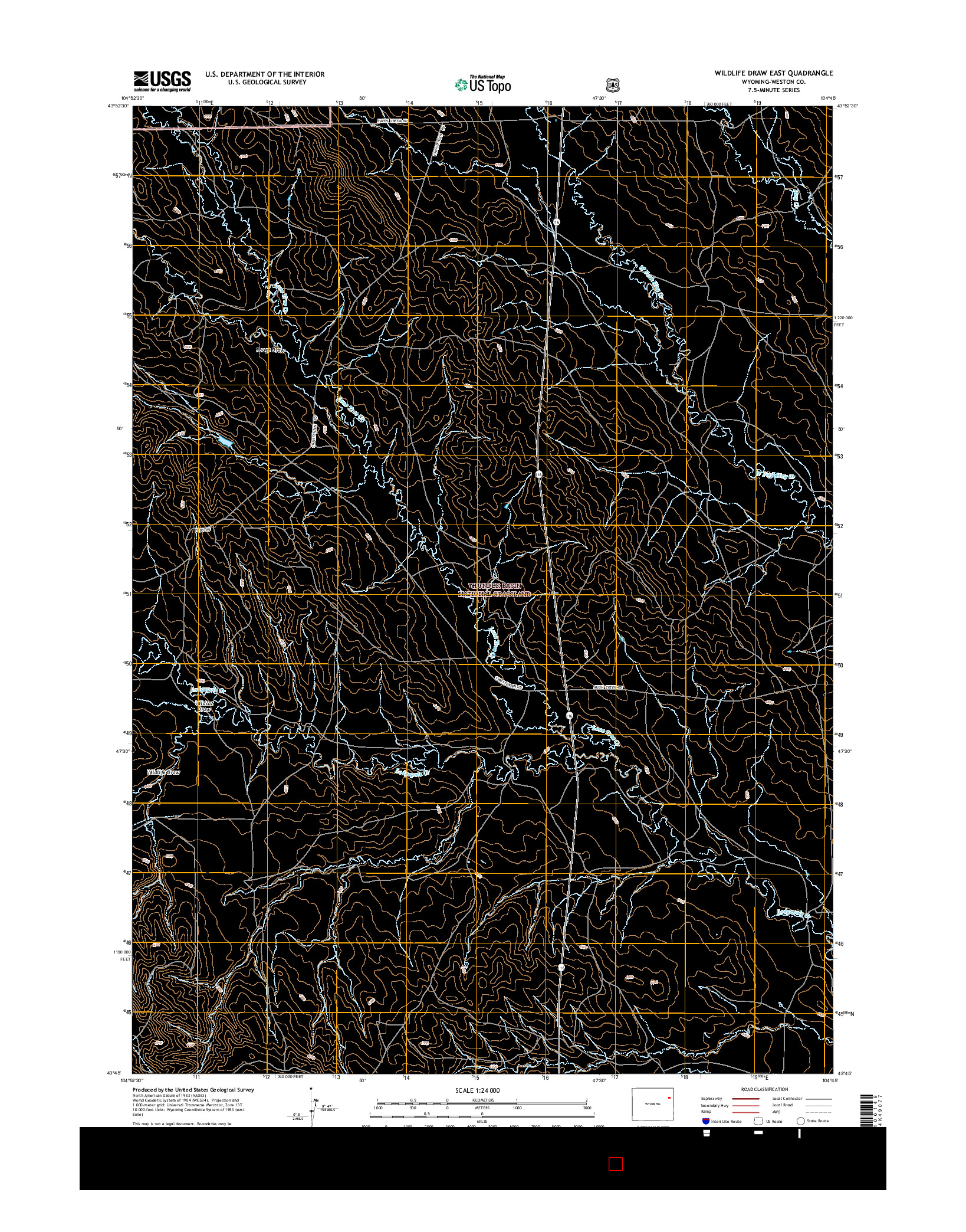 USGS US TOPO 7.5-MINUTE MAP FOR WILDLIFE DRAW EAST, WY 2015