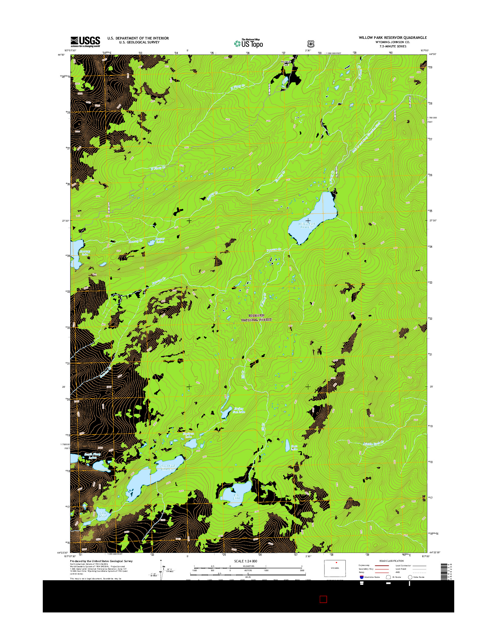 USGS US TOPO 7.5-MINUTE MAP FOR WILLOW PARK RESERVOIR, WY 2015
