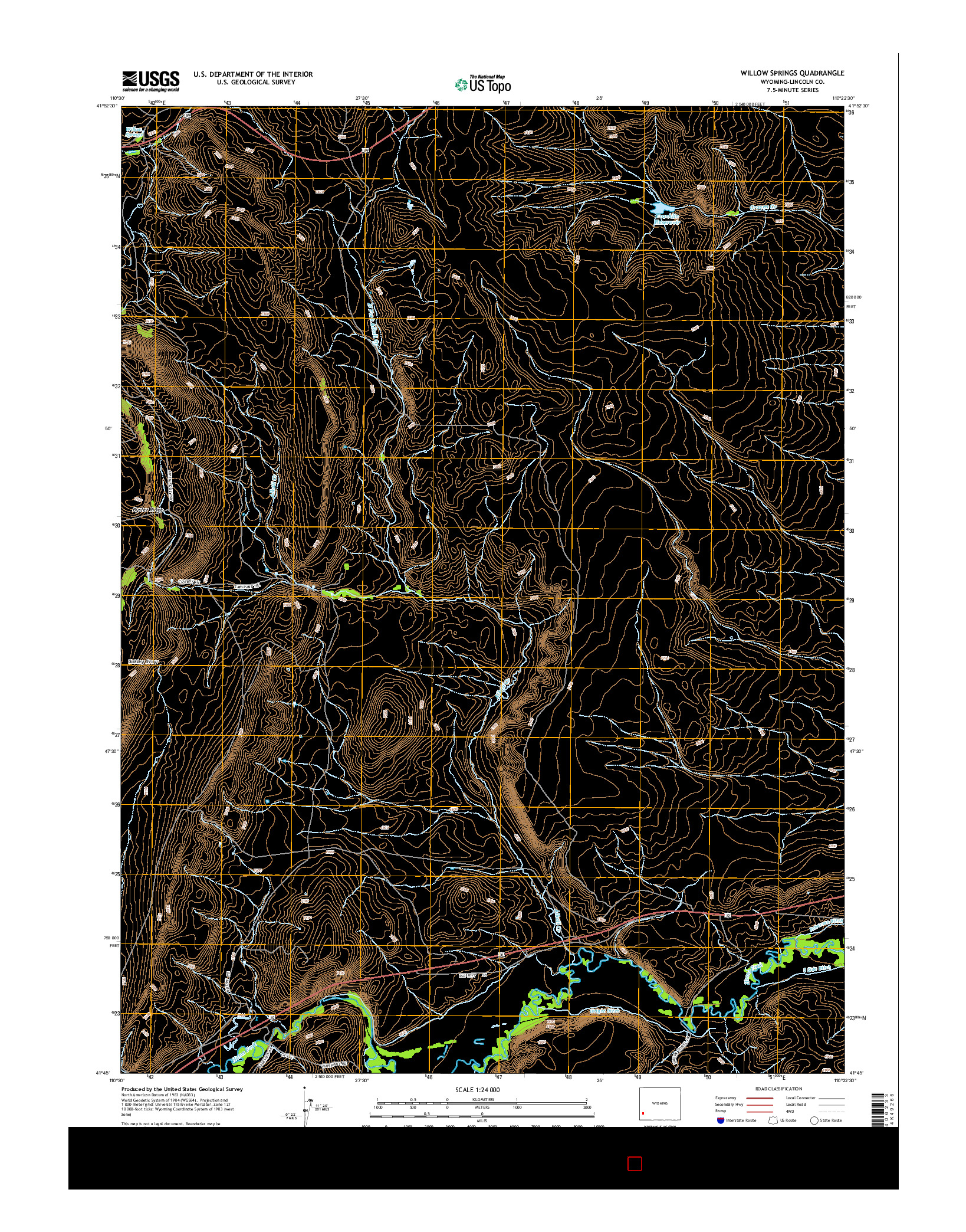 USGS US TOPO 7.5-MINUTE MAP FOR WILLOW SPRINGS, WY 2015