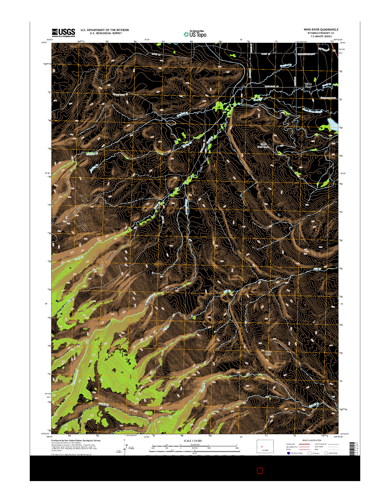 USGS US TOPO 7.5-MINUTE MAP FOR WIND RIVER, WY 2015