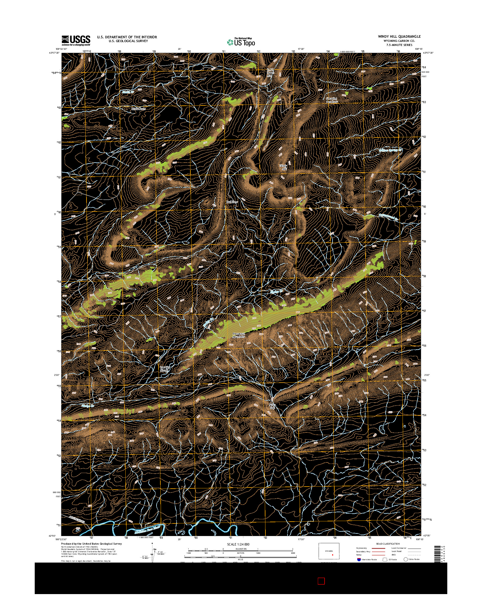 USGS US TOPO 7.5-MINUTE MAP FOR WINDY HILL, WY 2015