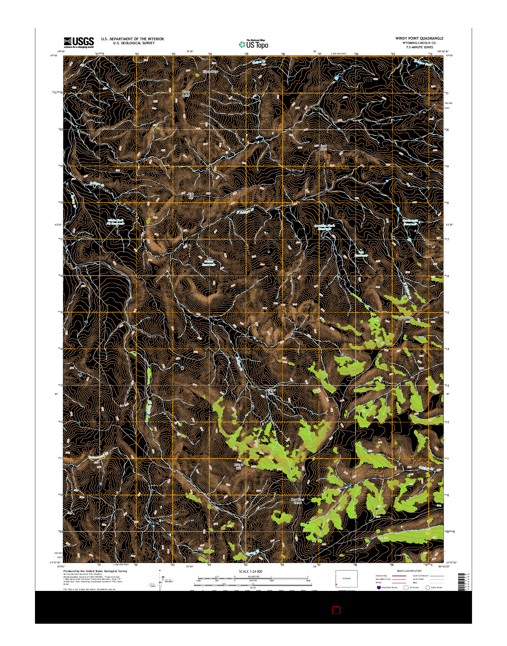 USGS US TOPO 7.5-MINUTE MAP FOR WINDY POINT, WY 2015