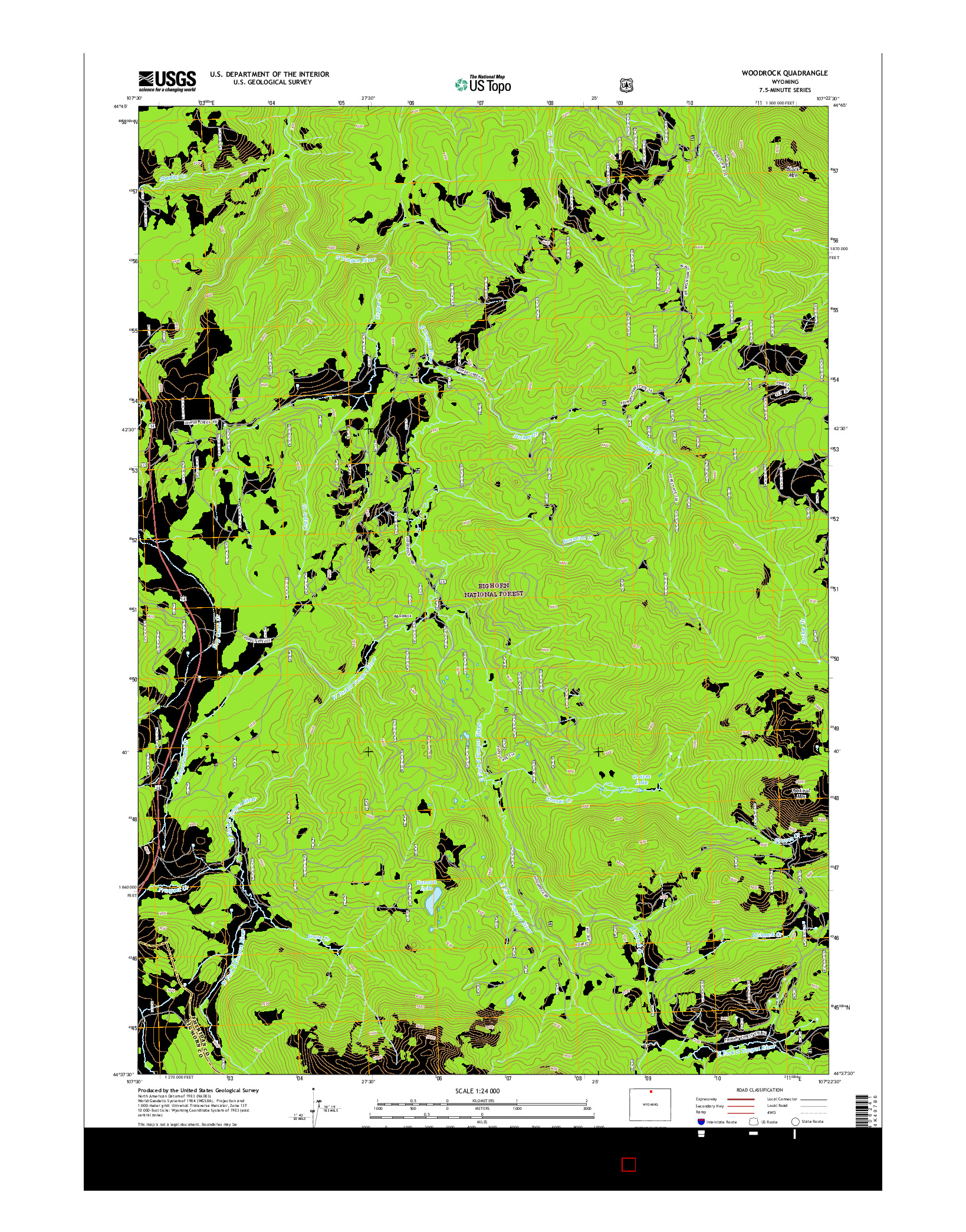 USGS US TOPO 7.5-MINUTE MAP FOR WOODROCK, WY 2015