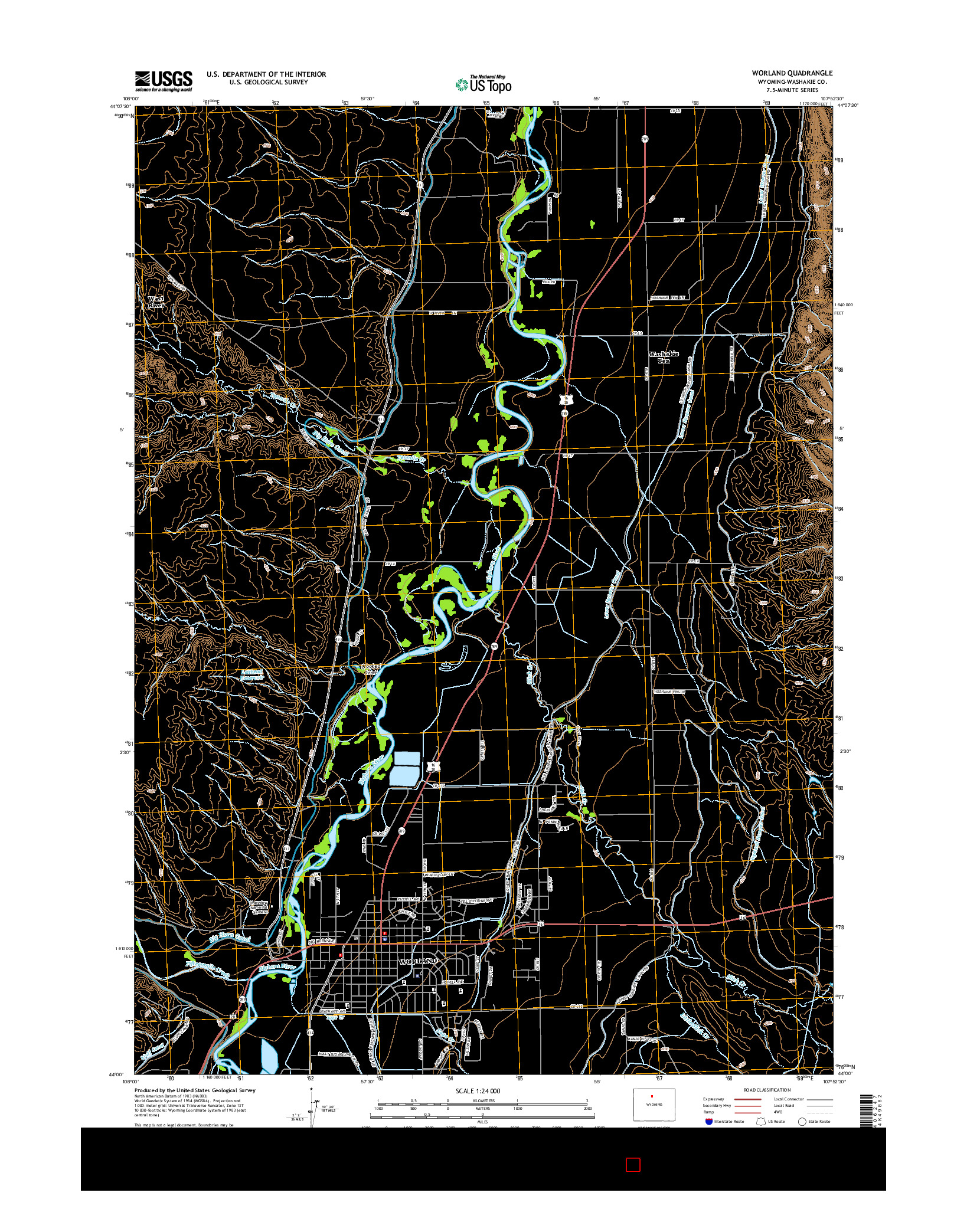 USGS US TOPO 7.5-MINUTE MAP FOR WORLAND, WY 2015