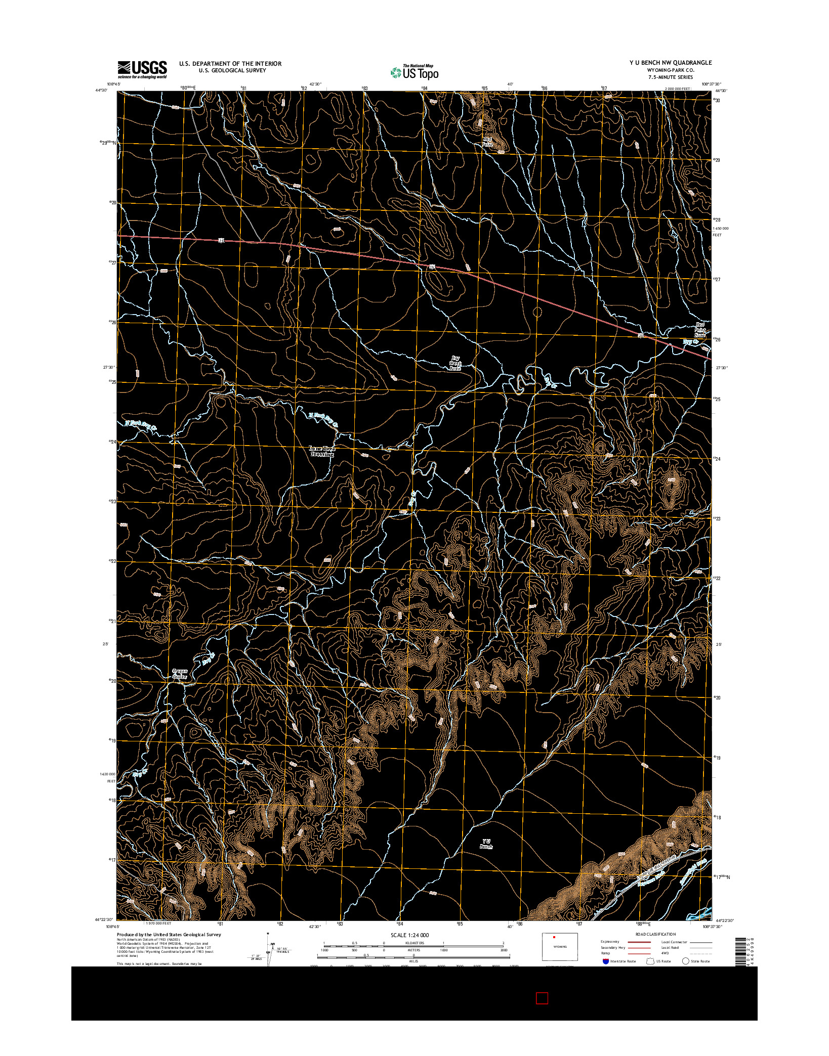 USGS US TOPO 7.5-MINUTE MAP FOR Y U BENCH NW, WY 2015