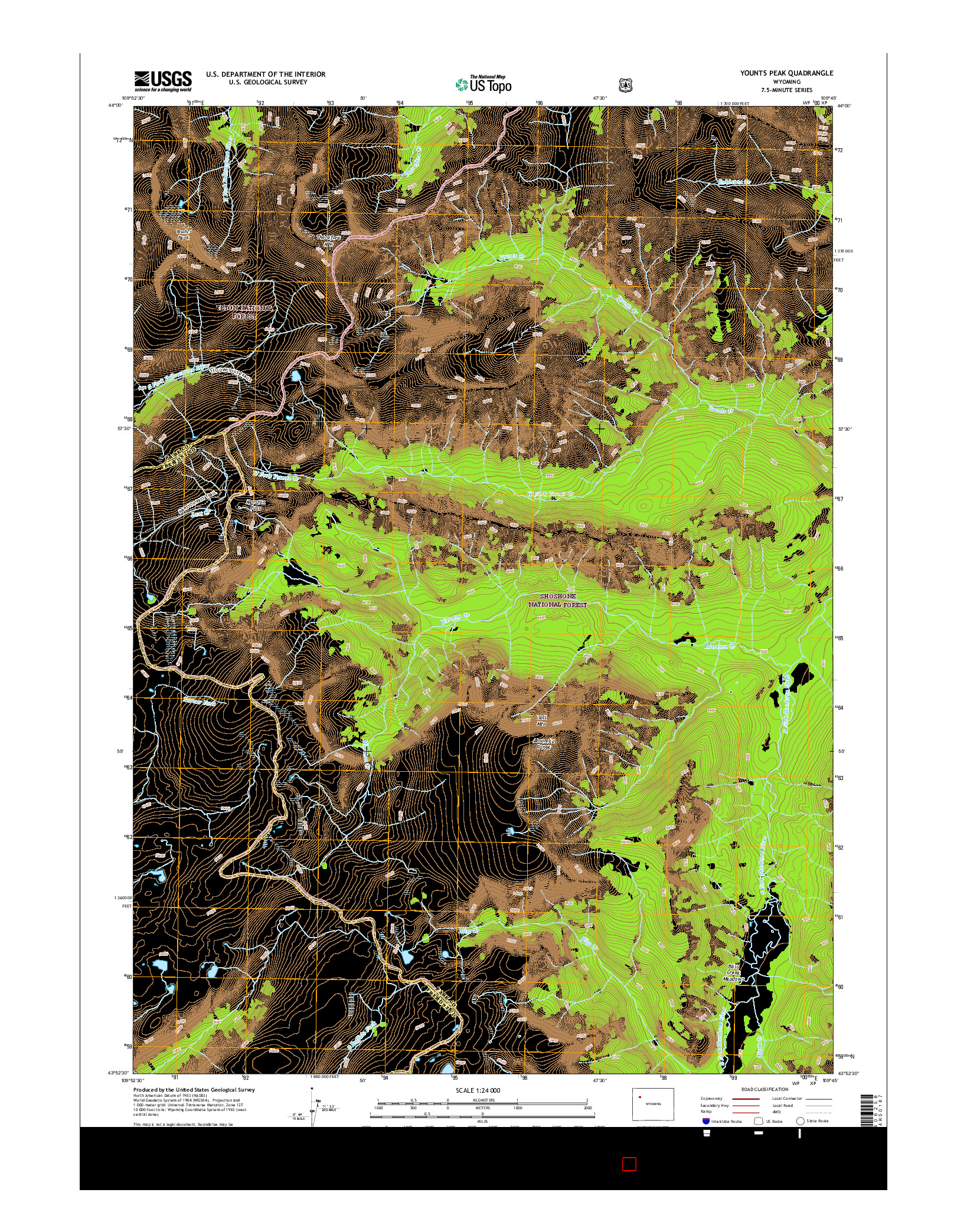 USGS US TOPO 7.5-MINUTE MAP FOR YOUNTS PEAK, WY 2015
