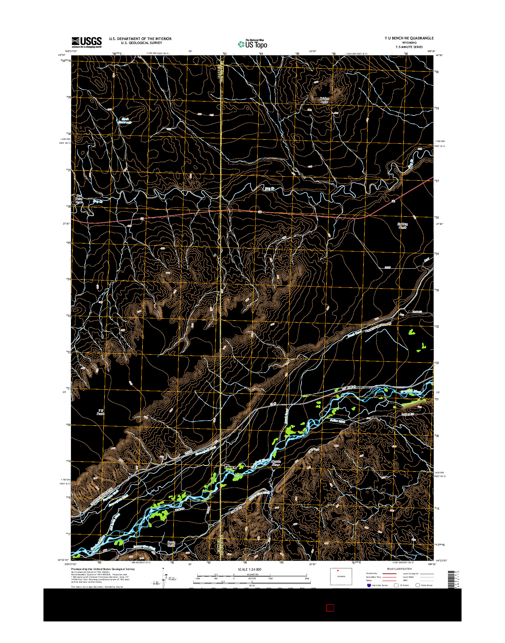 USGS US TOPO 7.5-MINUTE MAP FOR Y U BENCH NE, WY 2015