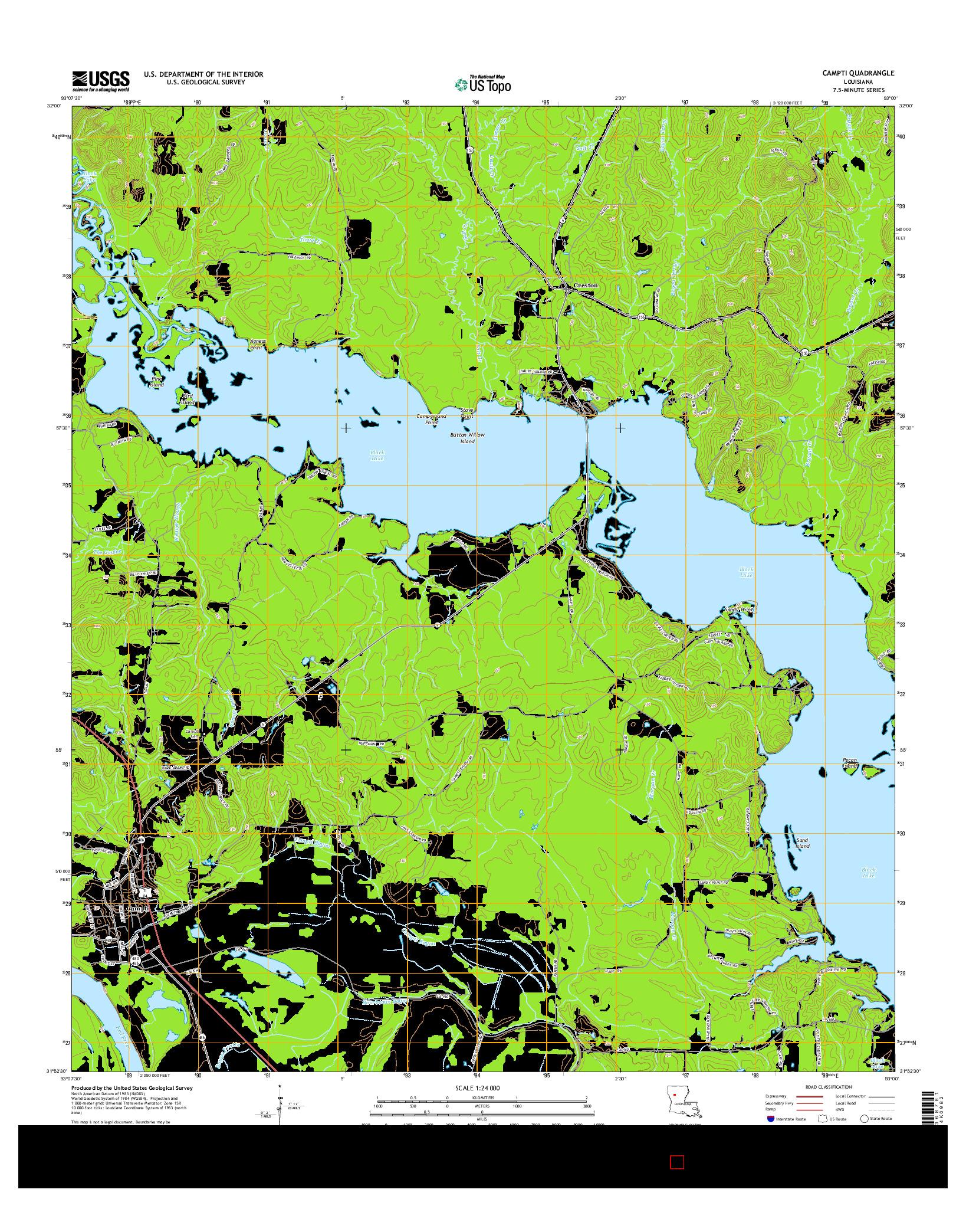 USGS US TOPO 7.5-MINUTE MAP FOR CAMPTI, LA 2015
