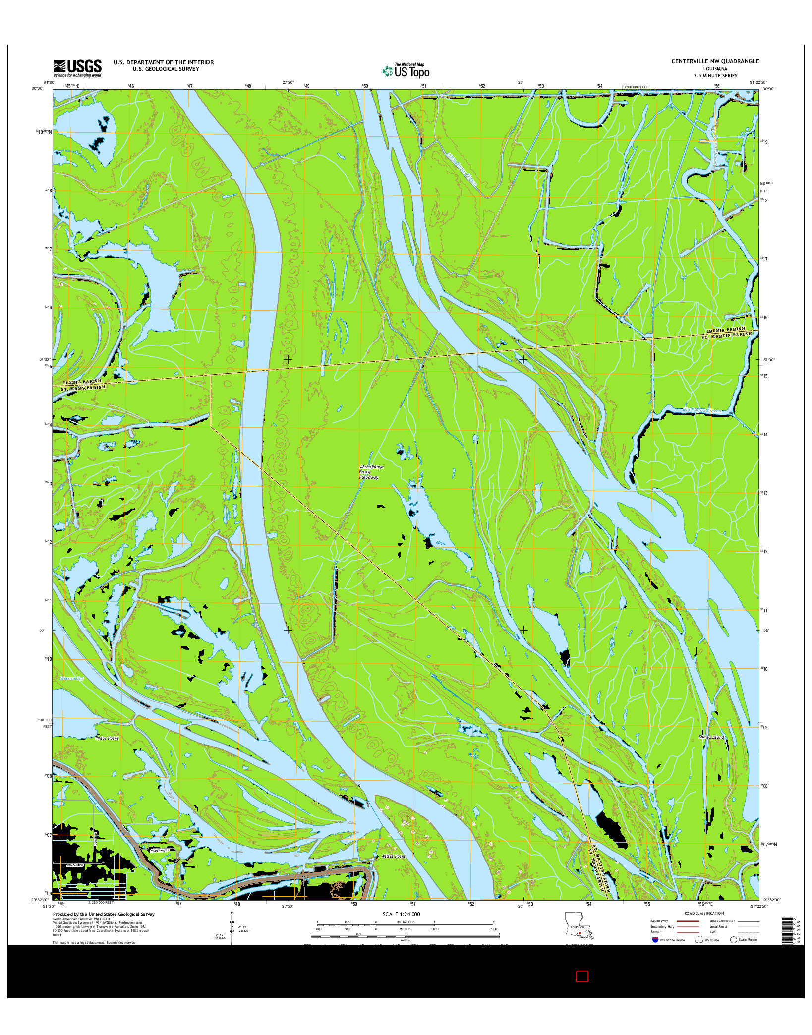 USGS US TOPO 7.5-MINUTE MAP FOR CENTERVILLE NW, LA 2015