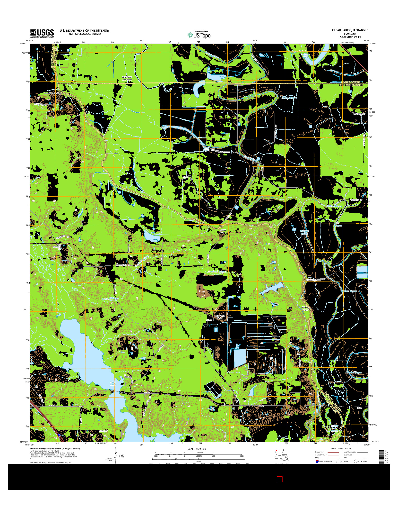 USGS US TOPO 7.5-MINUTE MAP FOR CLEAR LAKE, LA 2015