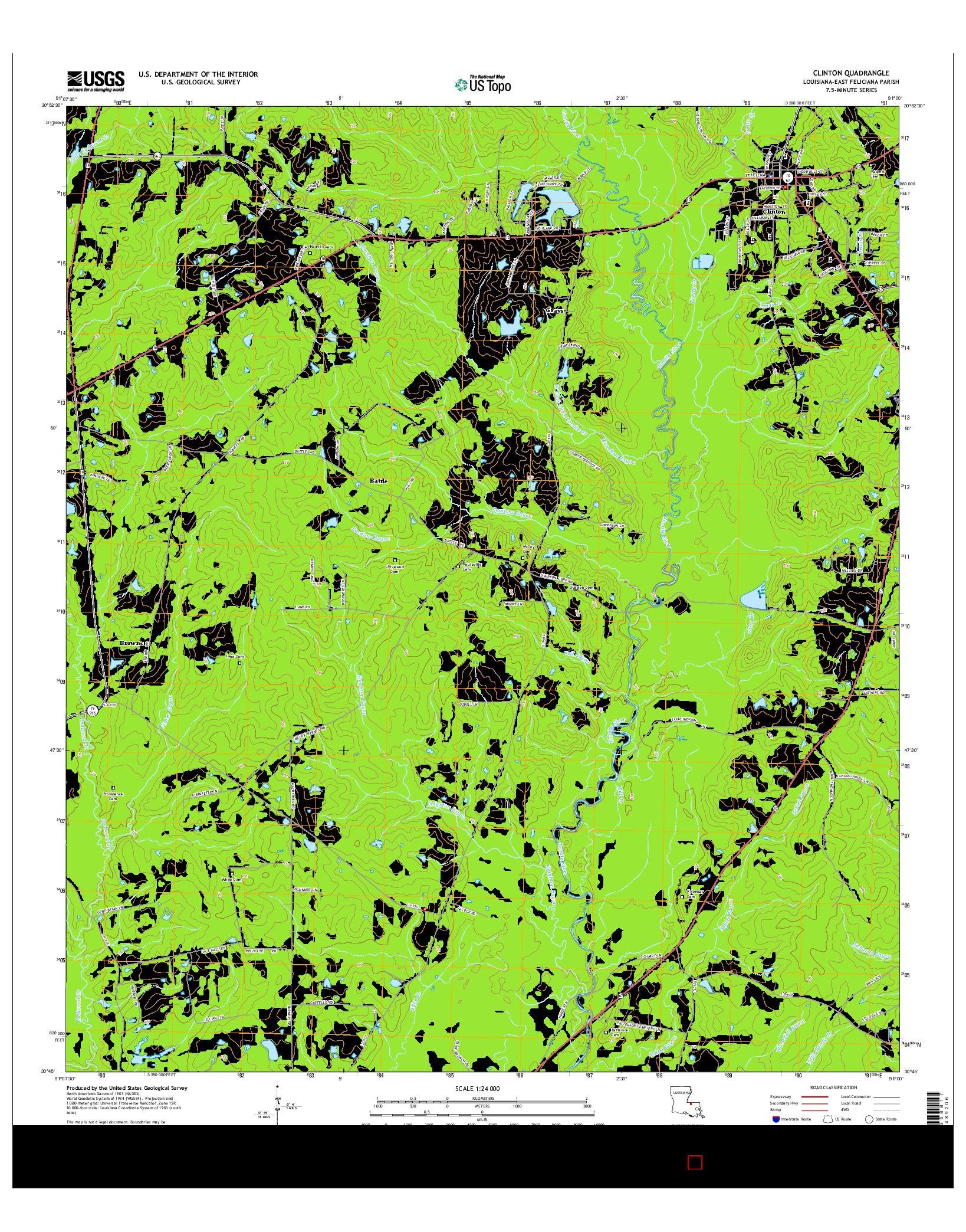 USGS US TOPO 7.5-MINUTE MAP FOR CLINTON, LA 2015