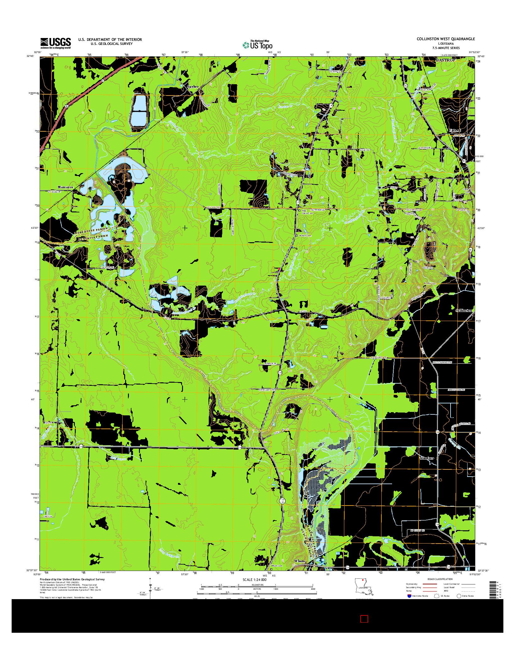 USGS US TOPO 7.5-MINUTE MAP FOR COLLINSTON WEST, LA 2015