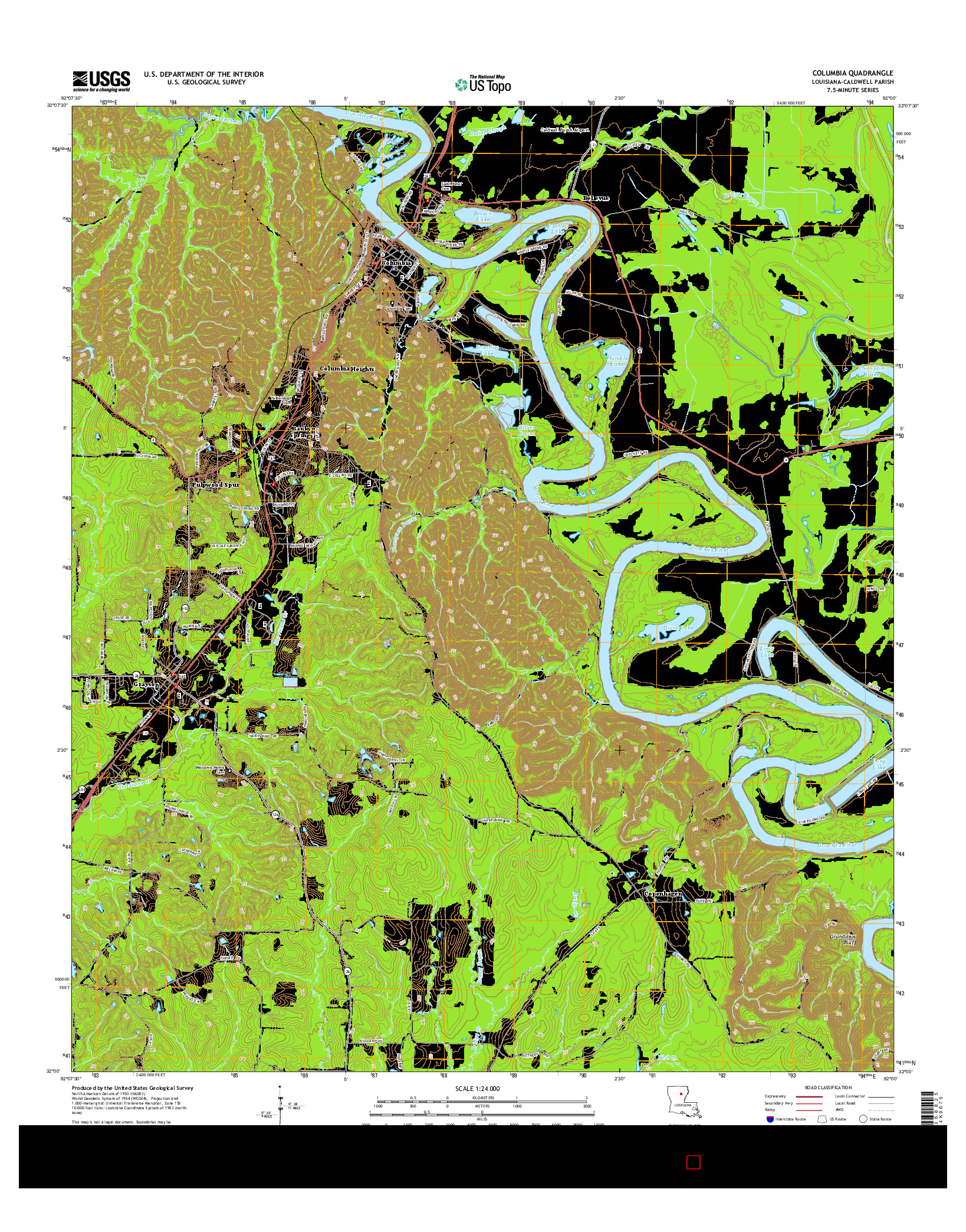 USGS US TOPO 7.5-MINUTE MAP FOR COLUMBIA, LA 2015