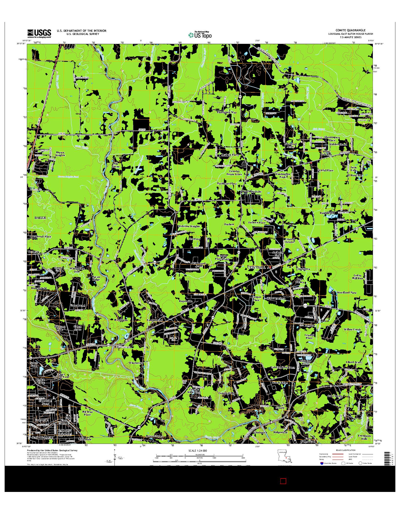 USGS US TOPO 7.5-MINUTE MAP FOR COMITE, LA 2015