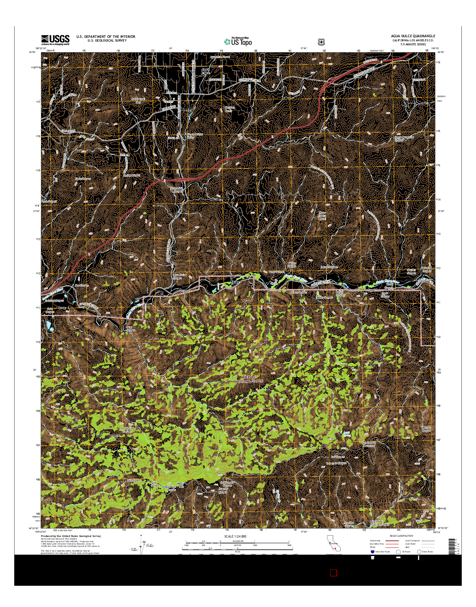 USGS US TOPO 7.5-MINUTE MAP FOR AGUA DULCE, CA 2015