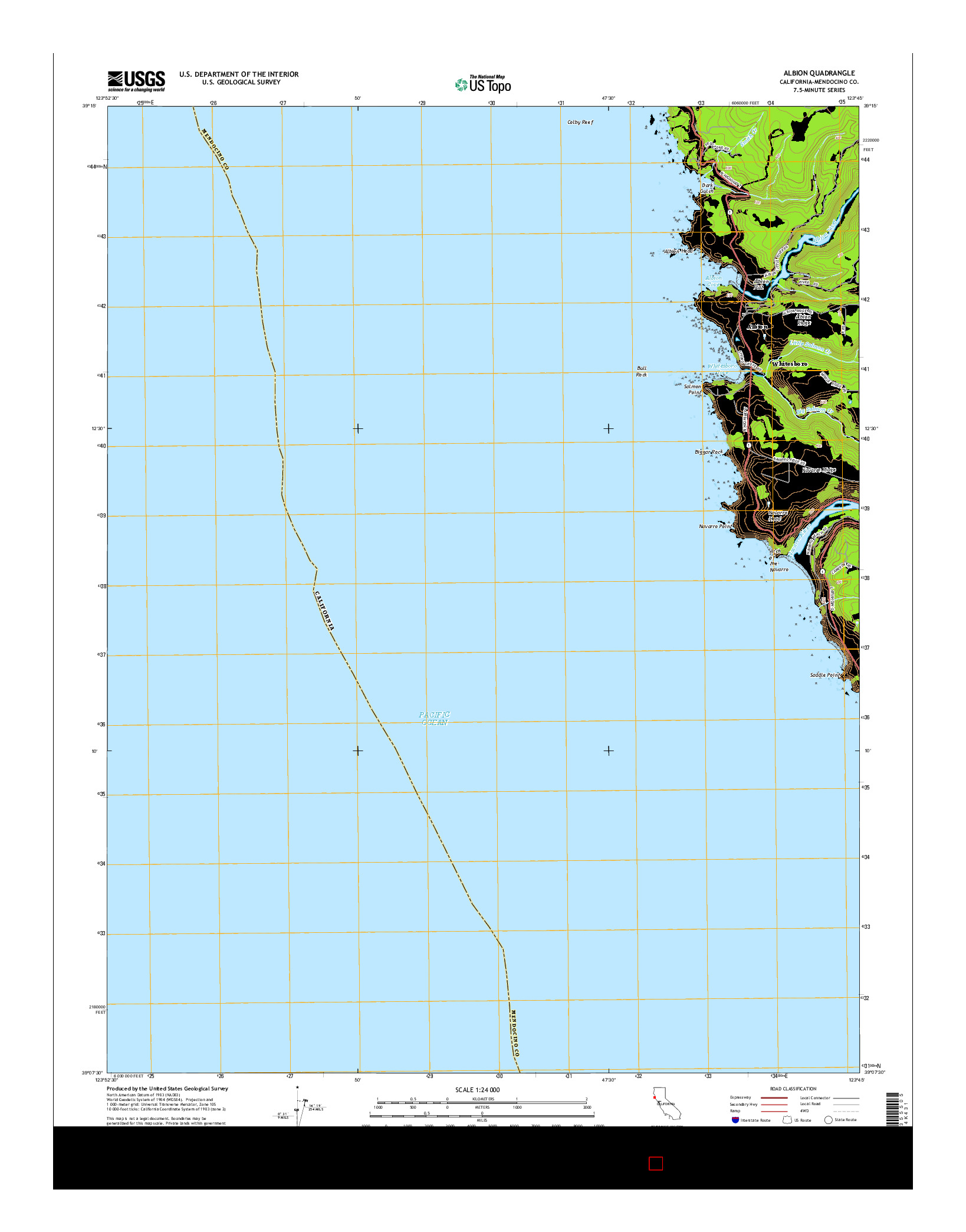 USGS US TOPO 7.5-MINUTE MAP FOR ALBION, CA 2015