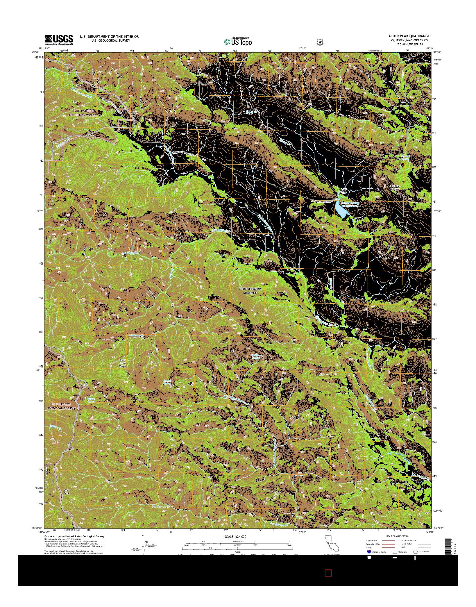 USGS US TOPO 7.5-MINUTE MAP FOR ALDER PEAK, CA 2015