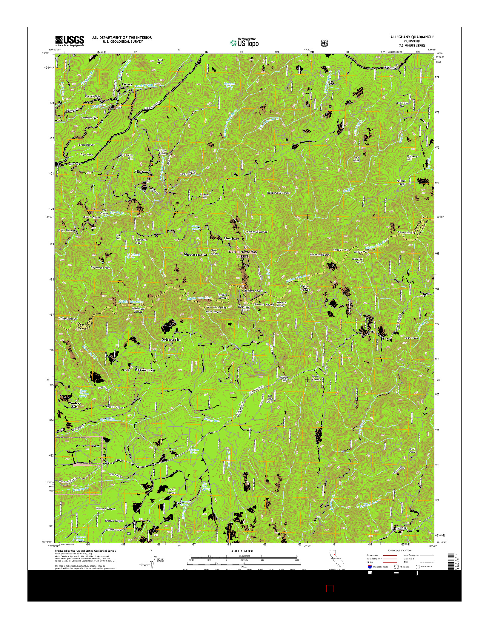 USGS US TOPO 7.5-MINUTE MAP FOR ALLEGHANY, CA 2015