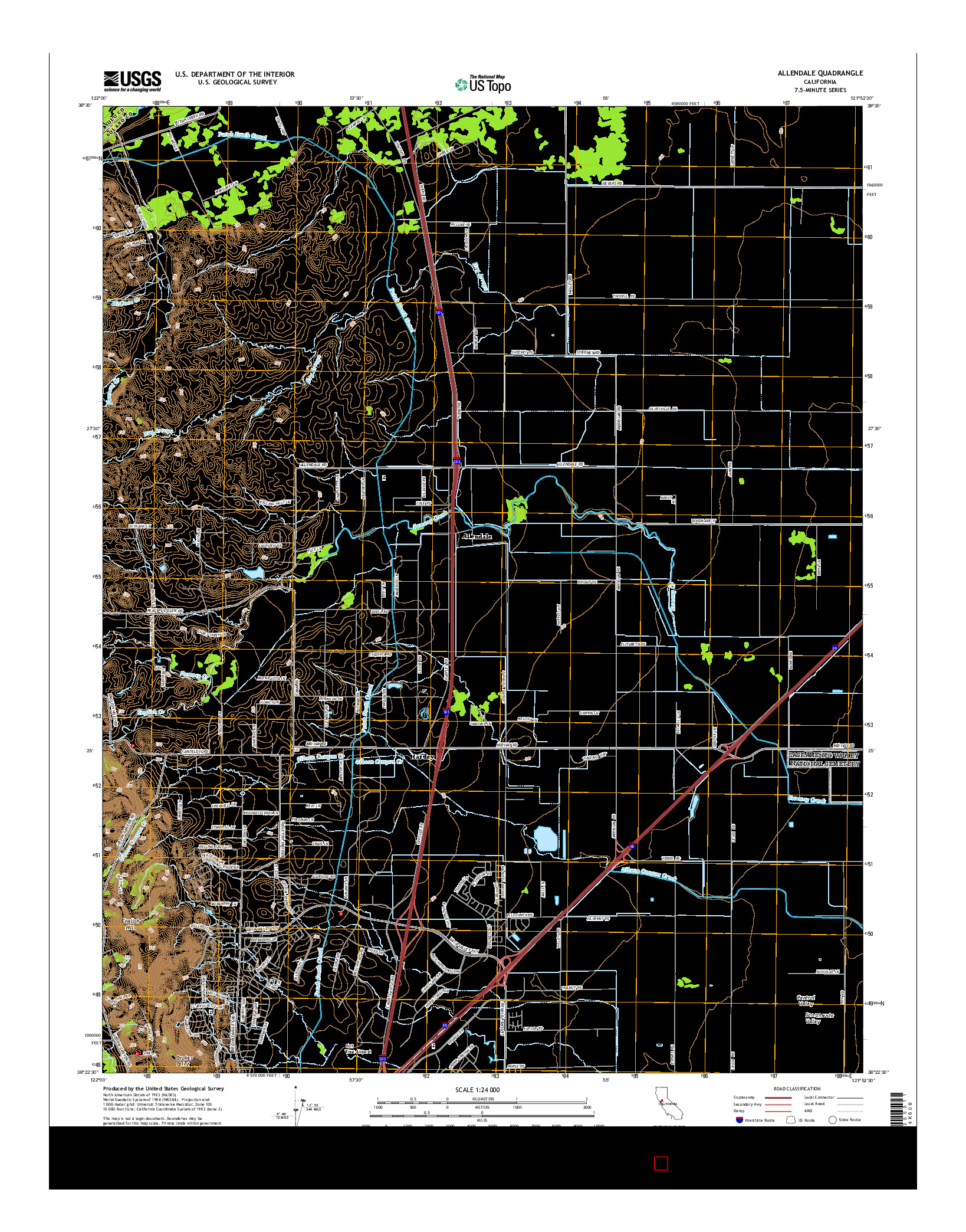 USGS US TOPO 7.5-MINUTE MAP FOR ALLENDALE, CA 2015