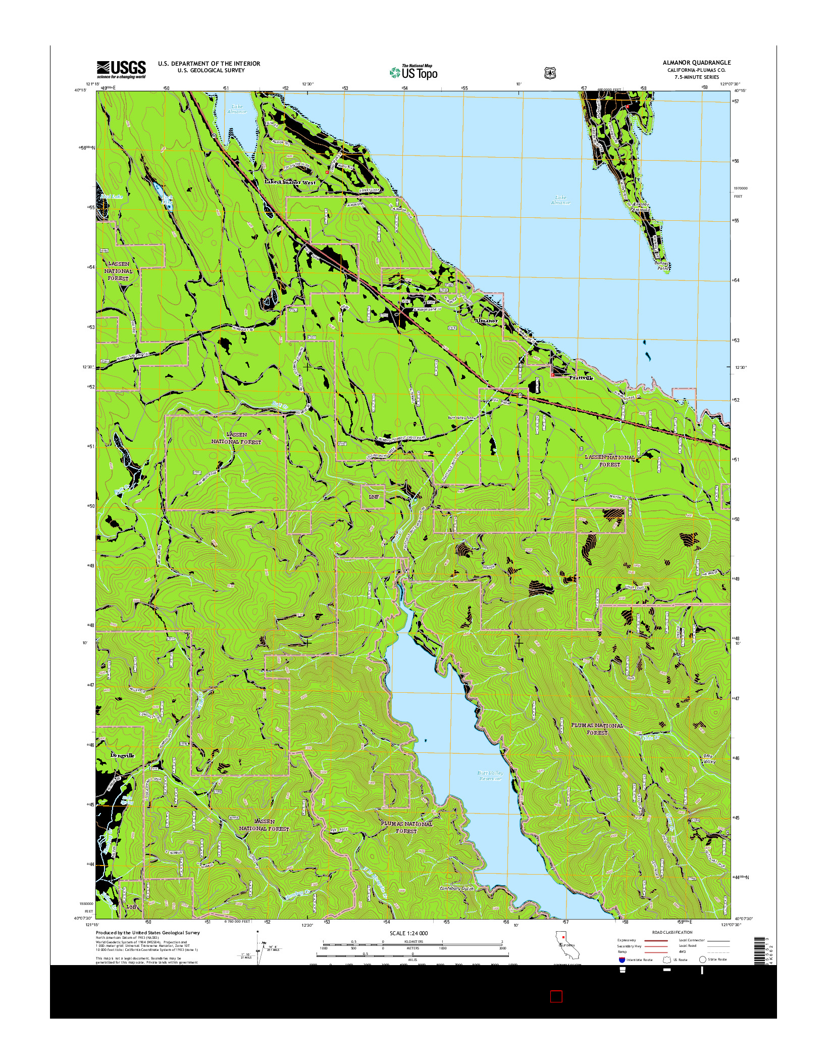 USGS US TOPO 7.5-MINUTE MAP FOR ALMANOR, CA 2015