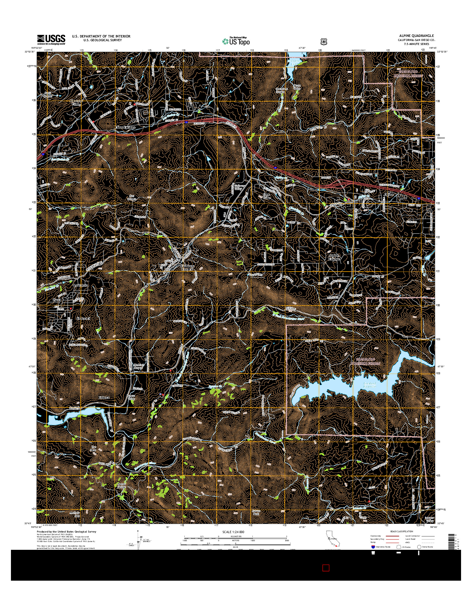 USGS US TOPO 7.5-MINUTE MAP FOR ALPINE, CA 2015