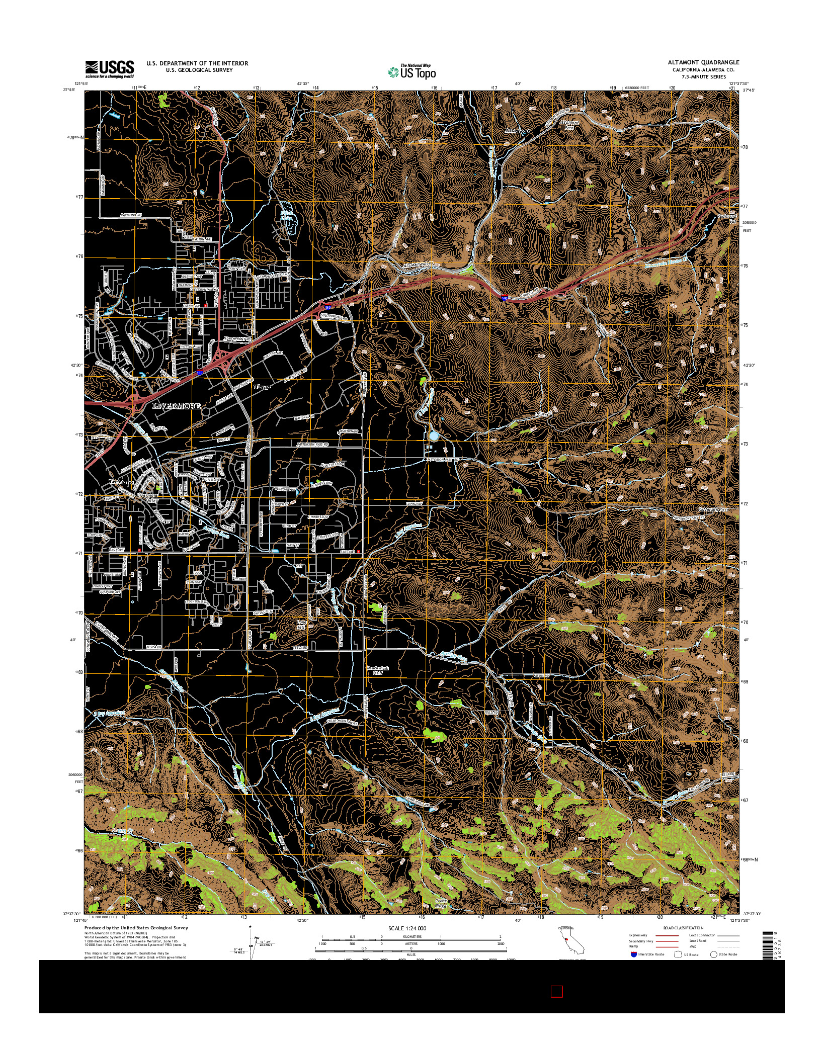 USGS US TOPO 7.5-MINUTE MAP FOR ALTAMONT, CA 2015