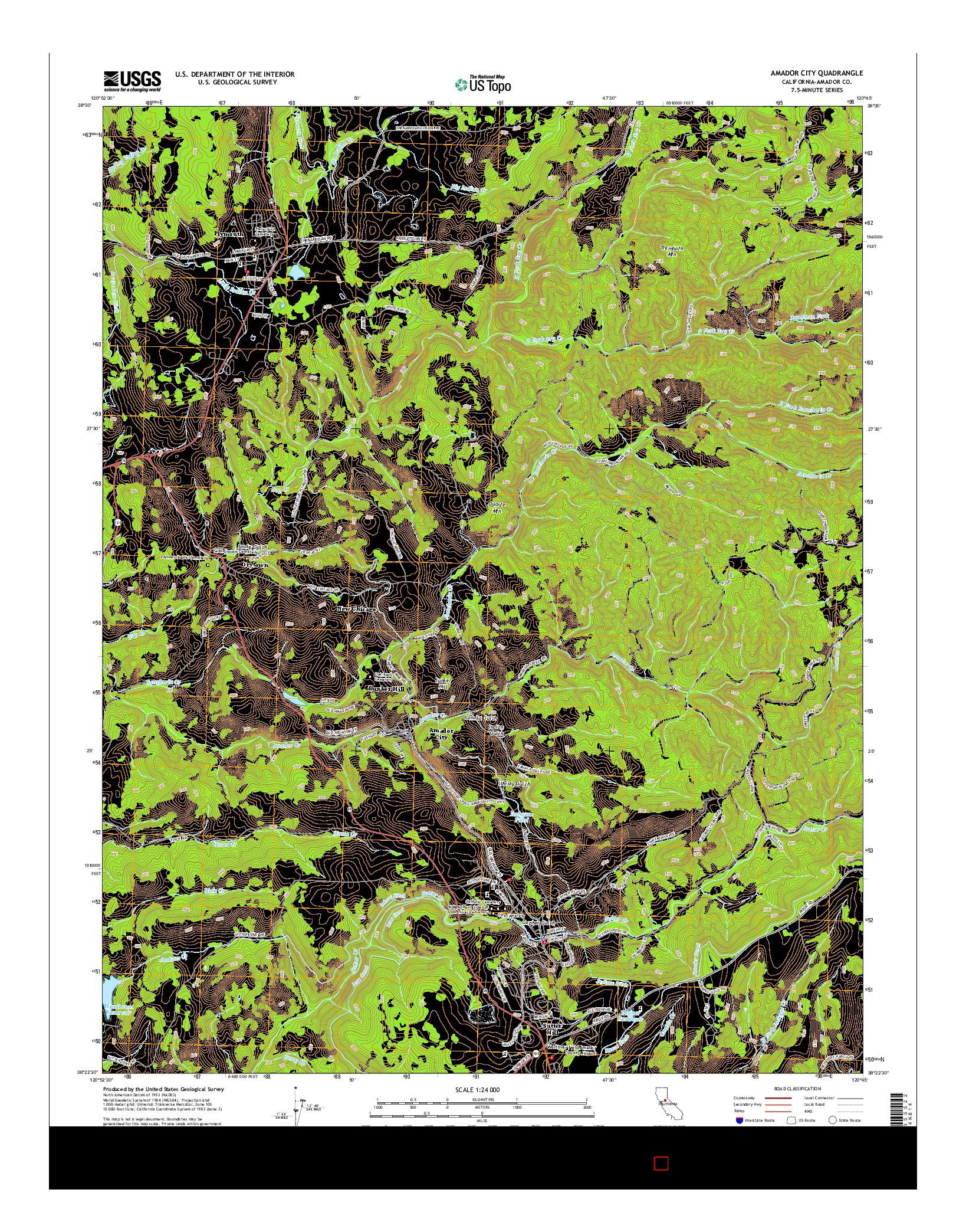 USGS US TOPO 7.5-MINUTE MAP FOR AMADOR CITY, CA 2015