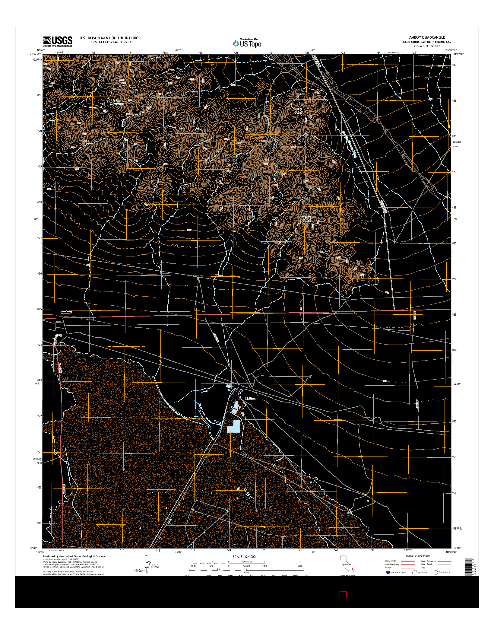 USGS US TOPO 7.5-MINUTE MAP FOR AMBOY, CA 2015