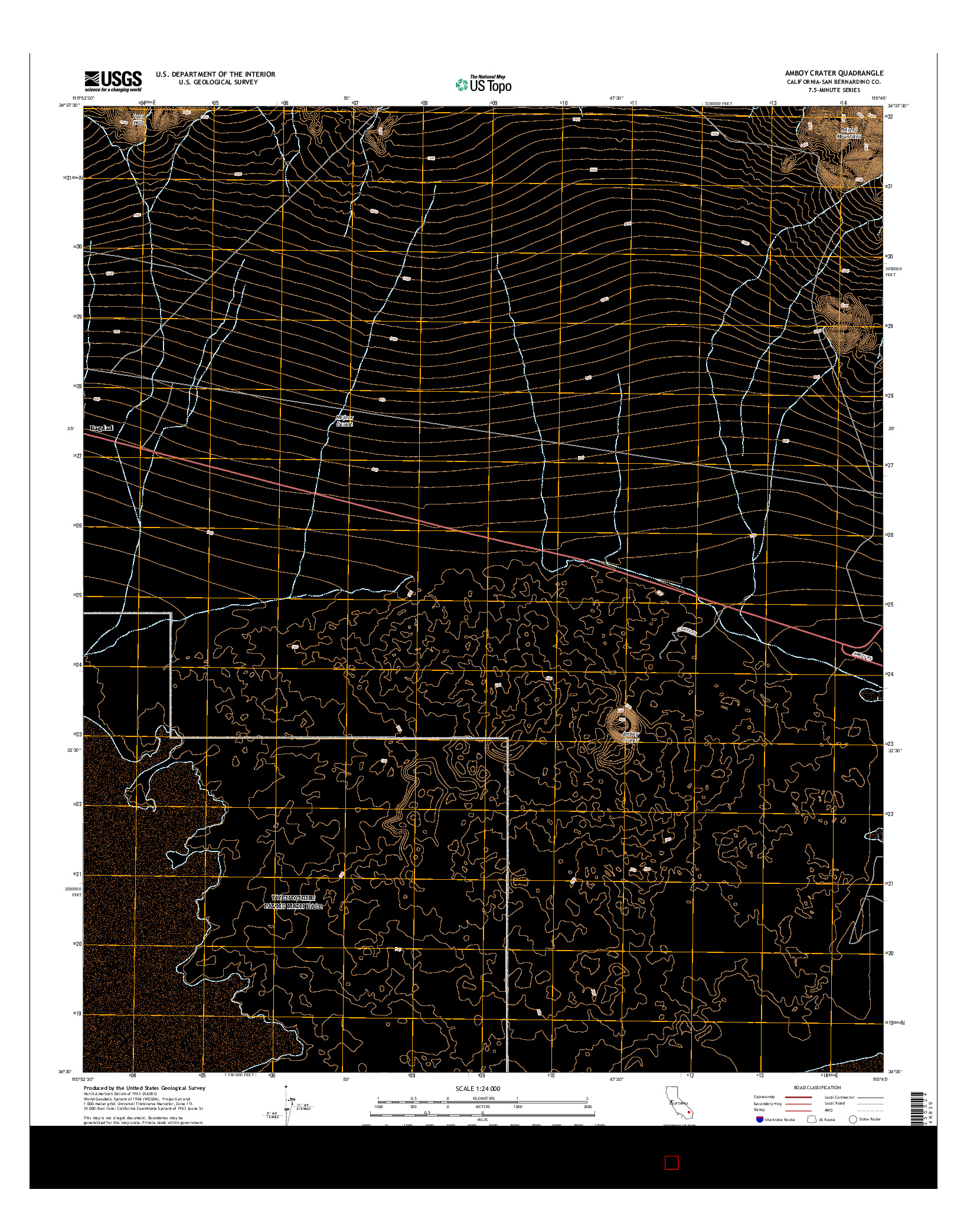 USGS US TOPO 7.5-MINUTE MAP FOR AMBOY CRATER, CA 2015