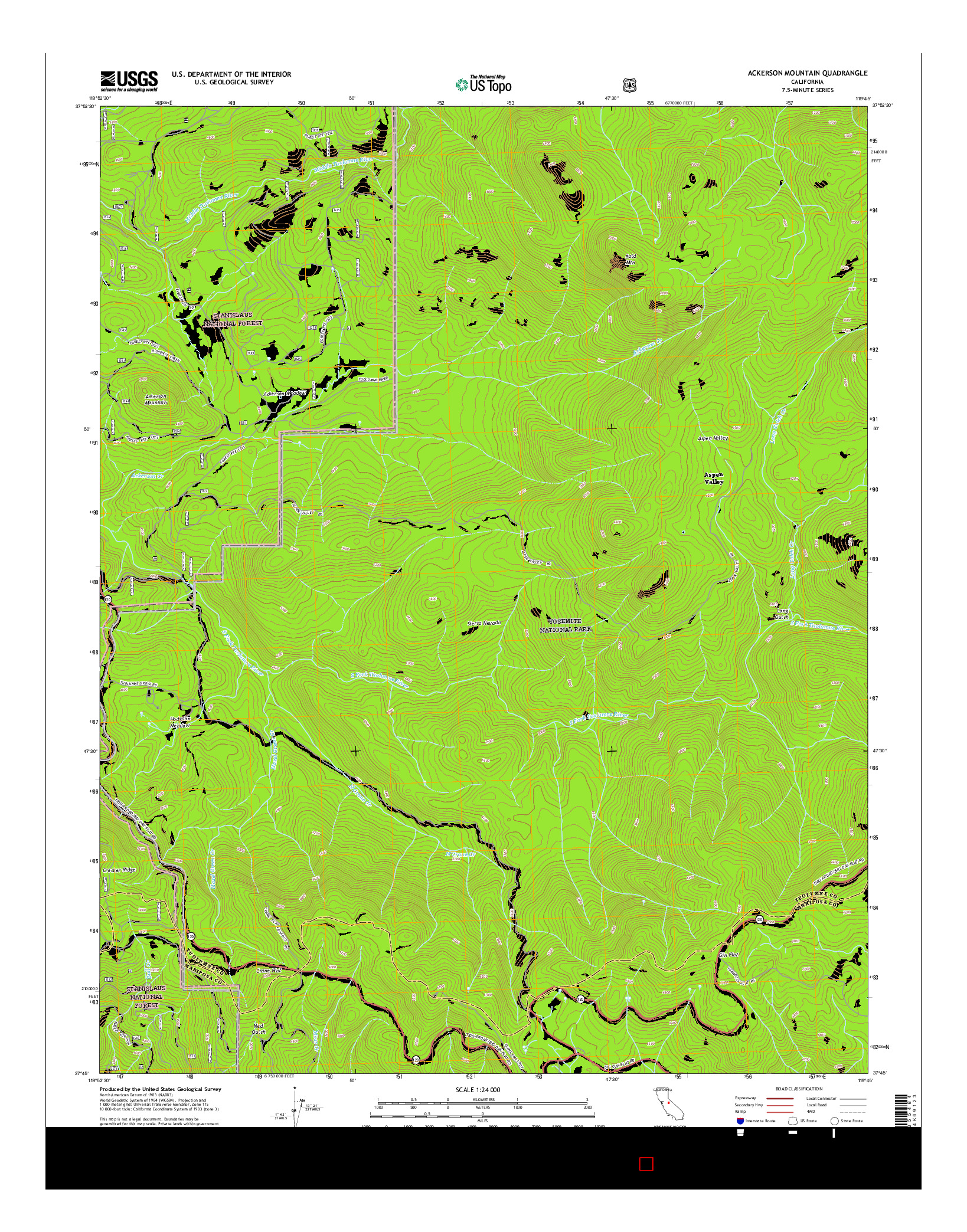 USGS US TOPO 7.5-MINUTE MAP FOR ACKERSON MOUNTAIN, CA 2015