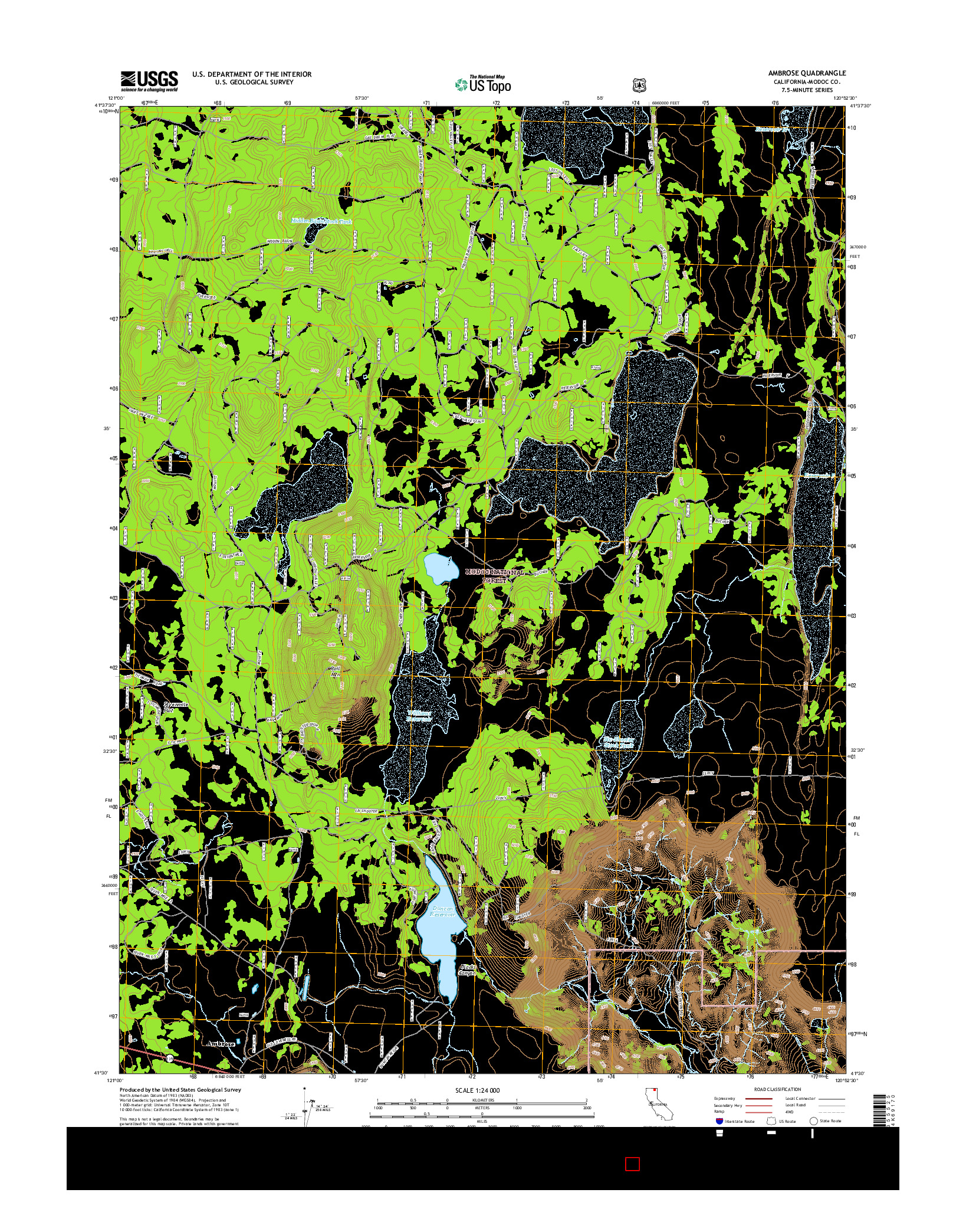 USGS US TOPO 7.5-MINUTE MAP FOR AMBROSE, CA 2015
