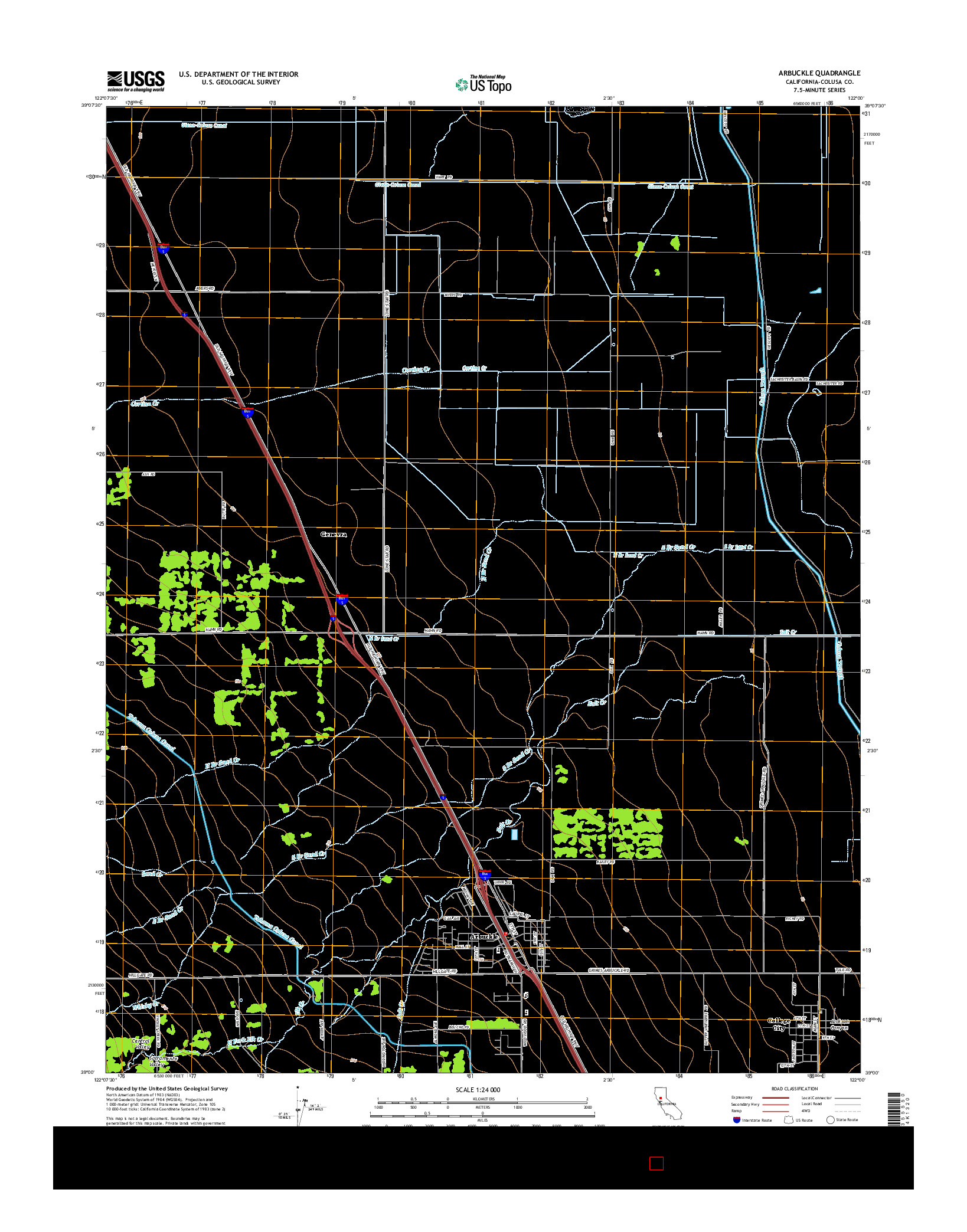 USGS US TOPO 7.5-MINUTE MAP FOR ARBUCKLE, CA 2015