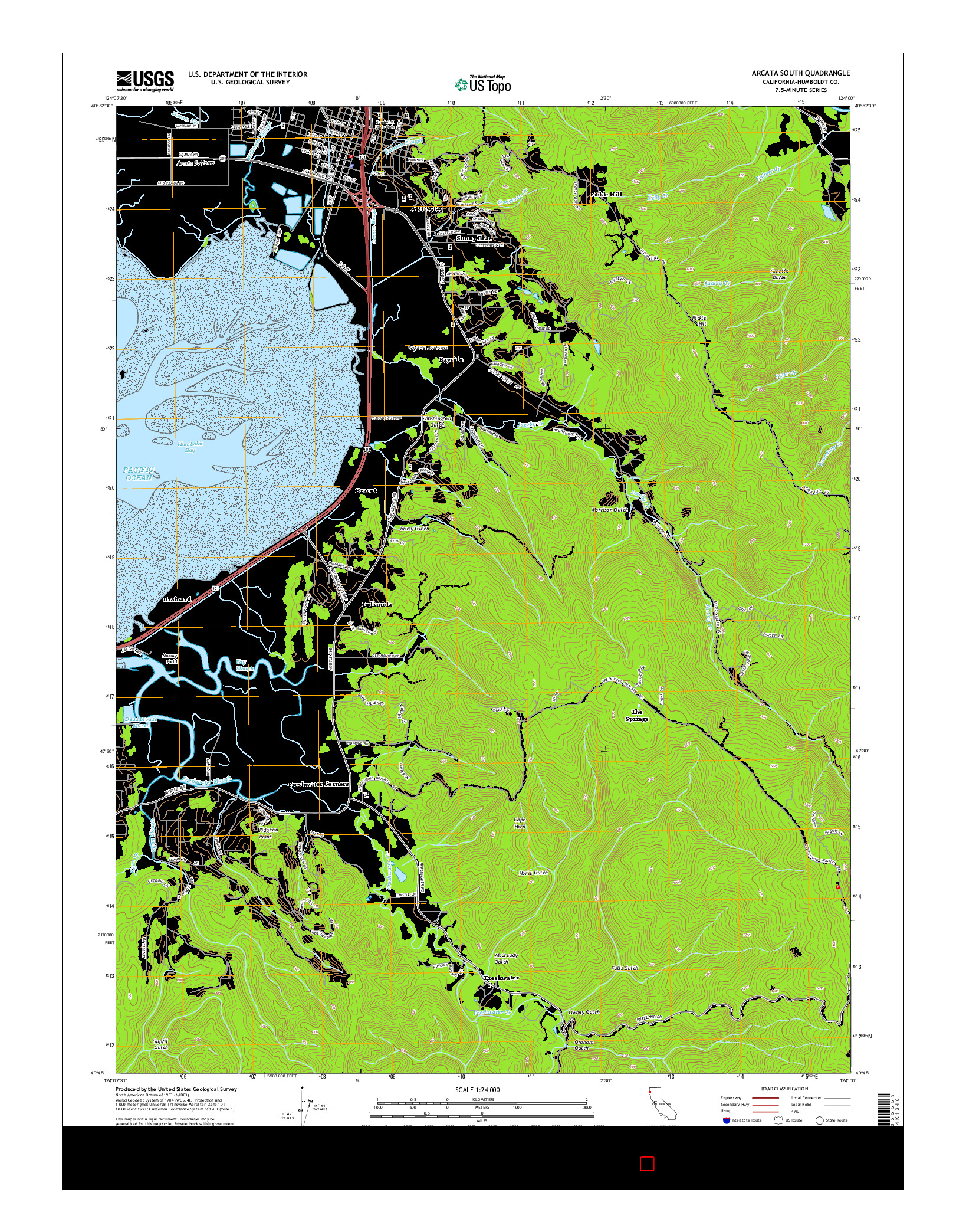 USGS US TOPO 7.5-MINUTE MAP FOR ARCATA SOUTH, CA 2015