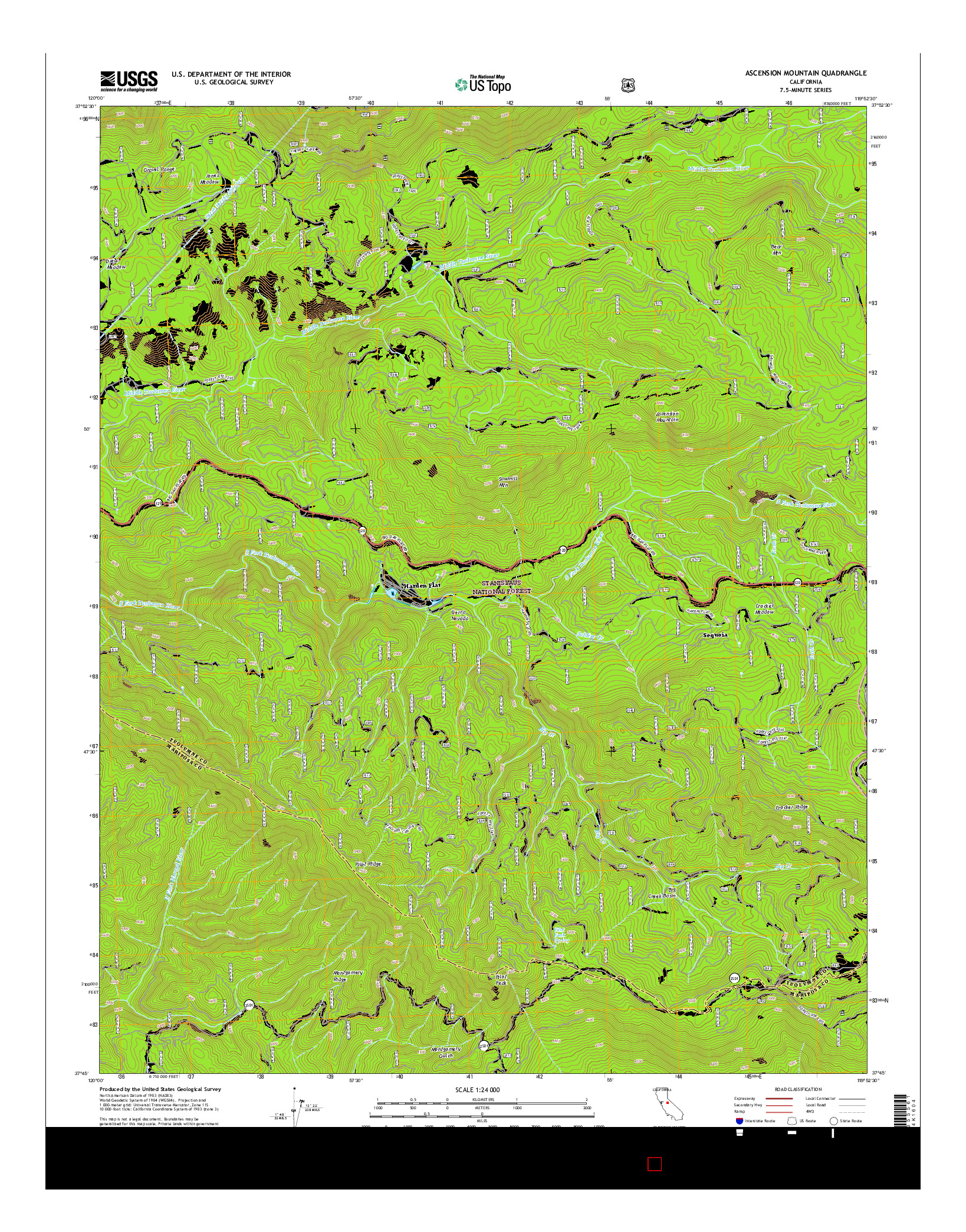 USGS US TOPO 7.5-MINUTE MAP FOR ASCENSION MOUNTAIN, CA 2015