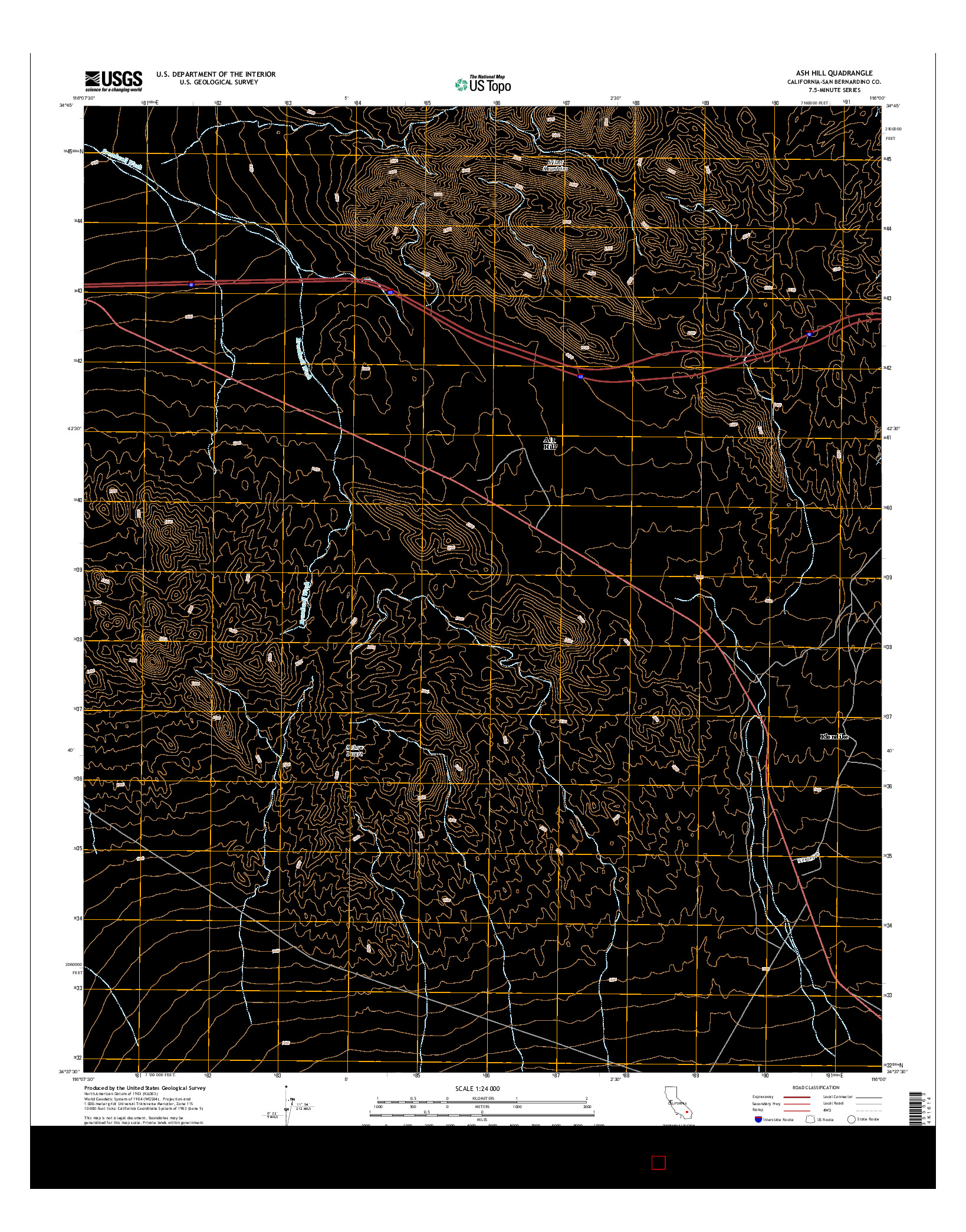 USGS US TOPO 7.5-MINUTE MAP FOR ASH HILL, CA 2015