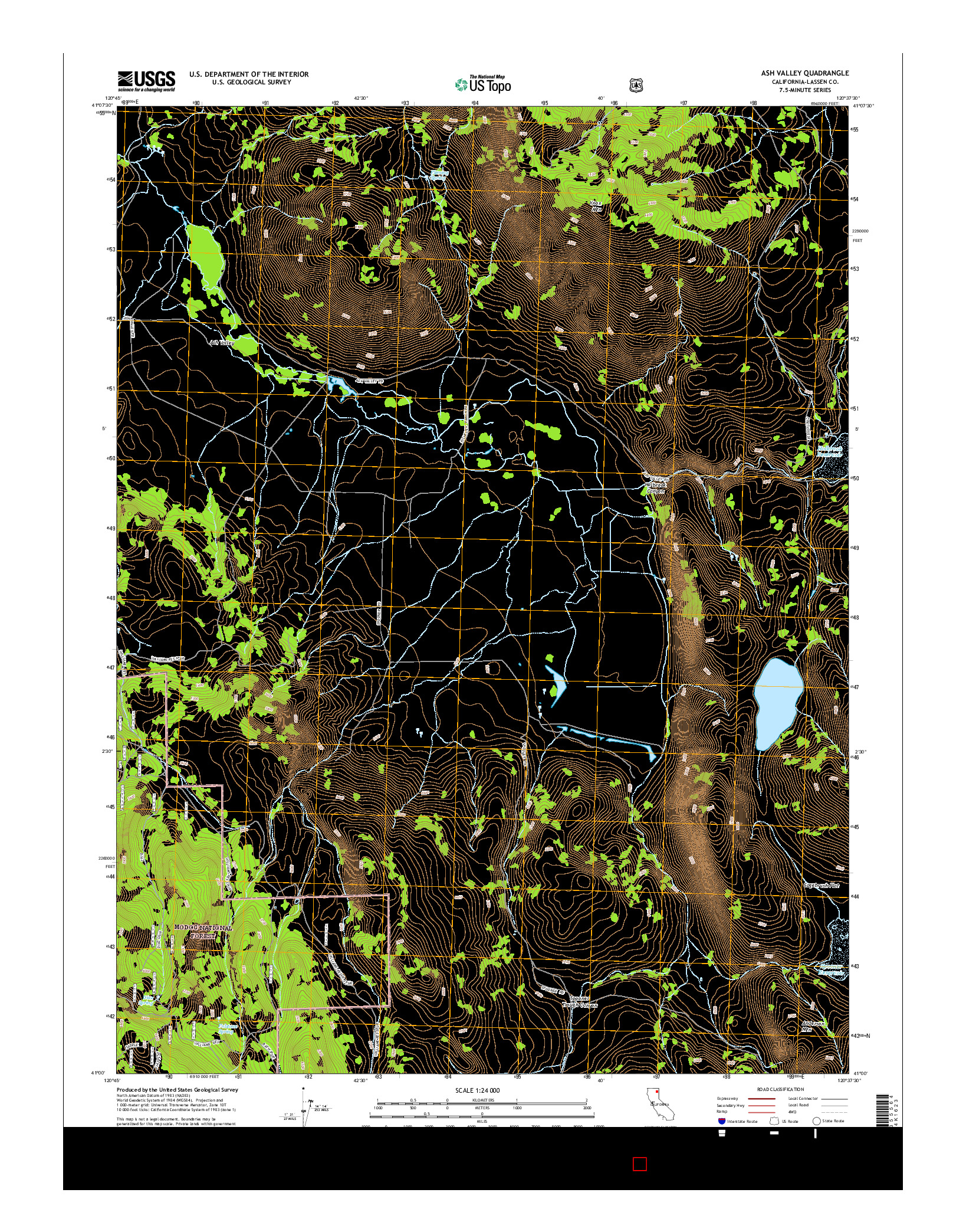 USGS US TOPO 7.5-MINUTE MAP FOR ASH VALLEY, CA 2015