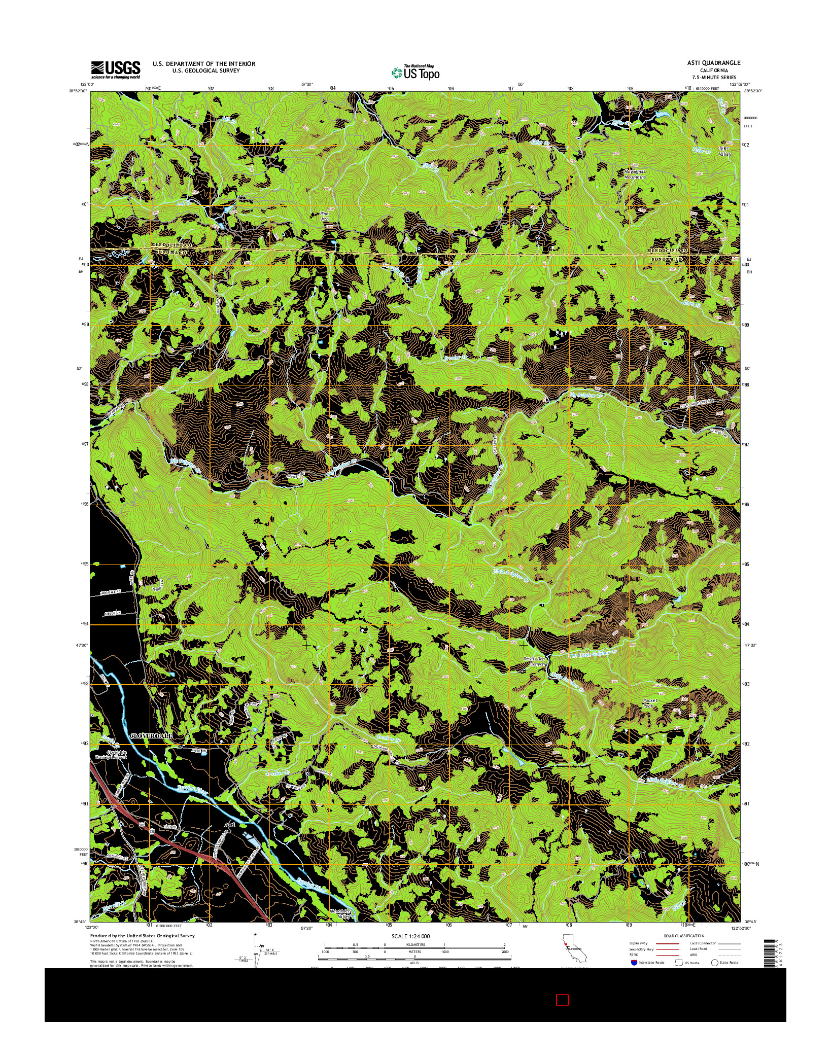 USGS US TOPO 7.5-MINUTE MAP FOR ASTI, CA 2015