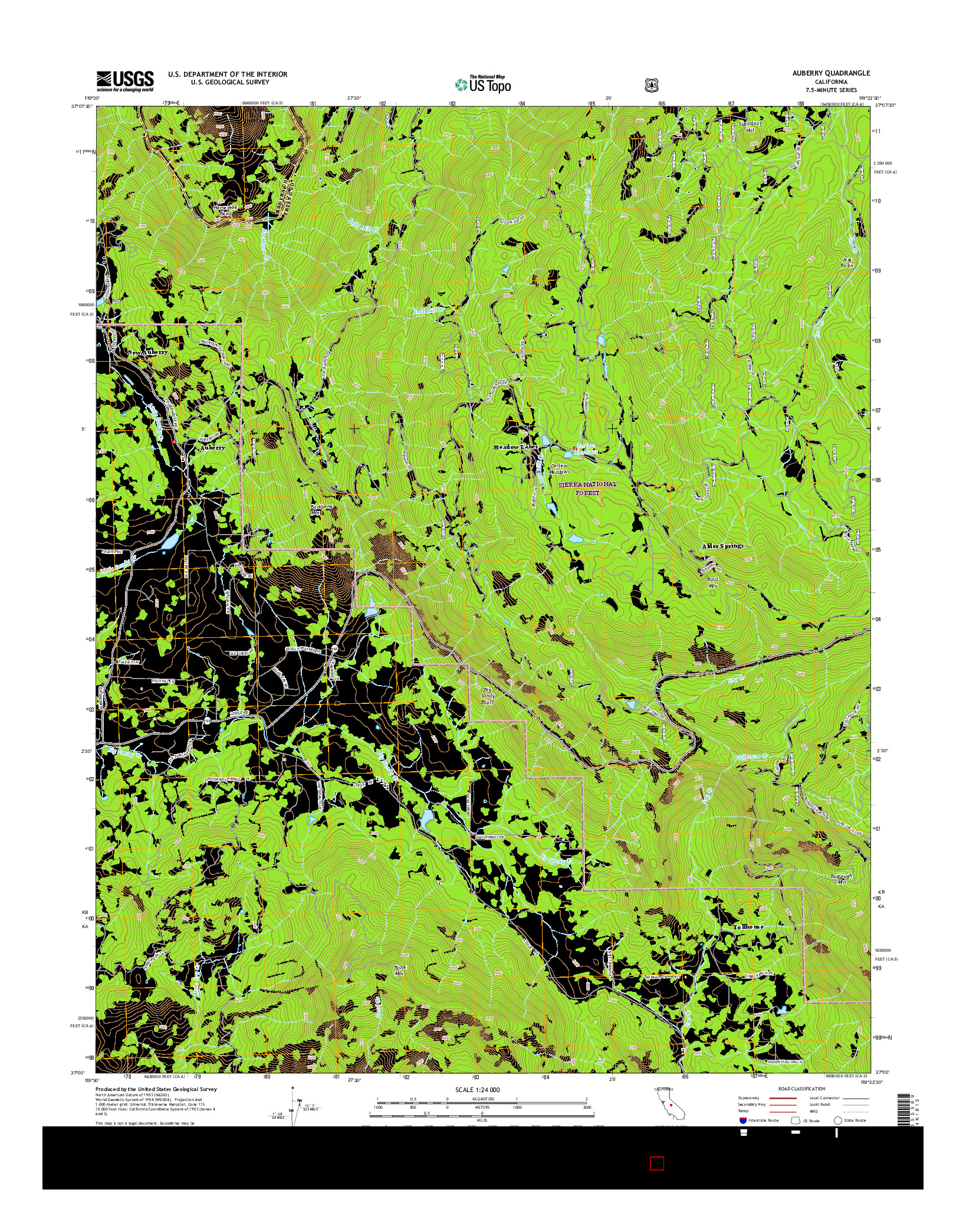 USGS US TOPO 7.5-MINUTE MAP FOR AUBERRY, CA 2015