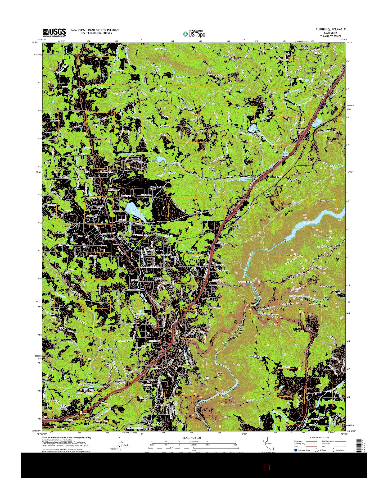 USGS US TOPO 7.5-MINUTE MAP FOR AUBURN, CA 2015