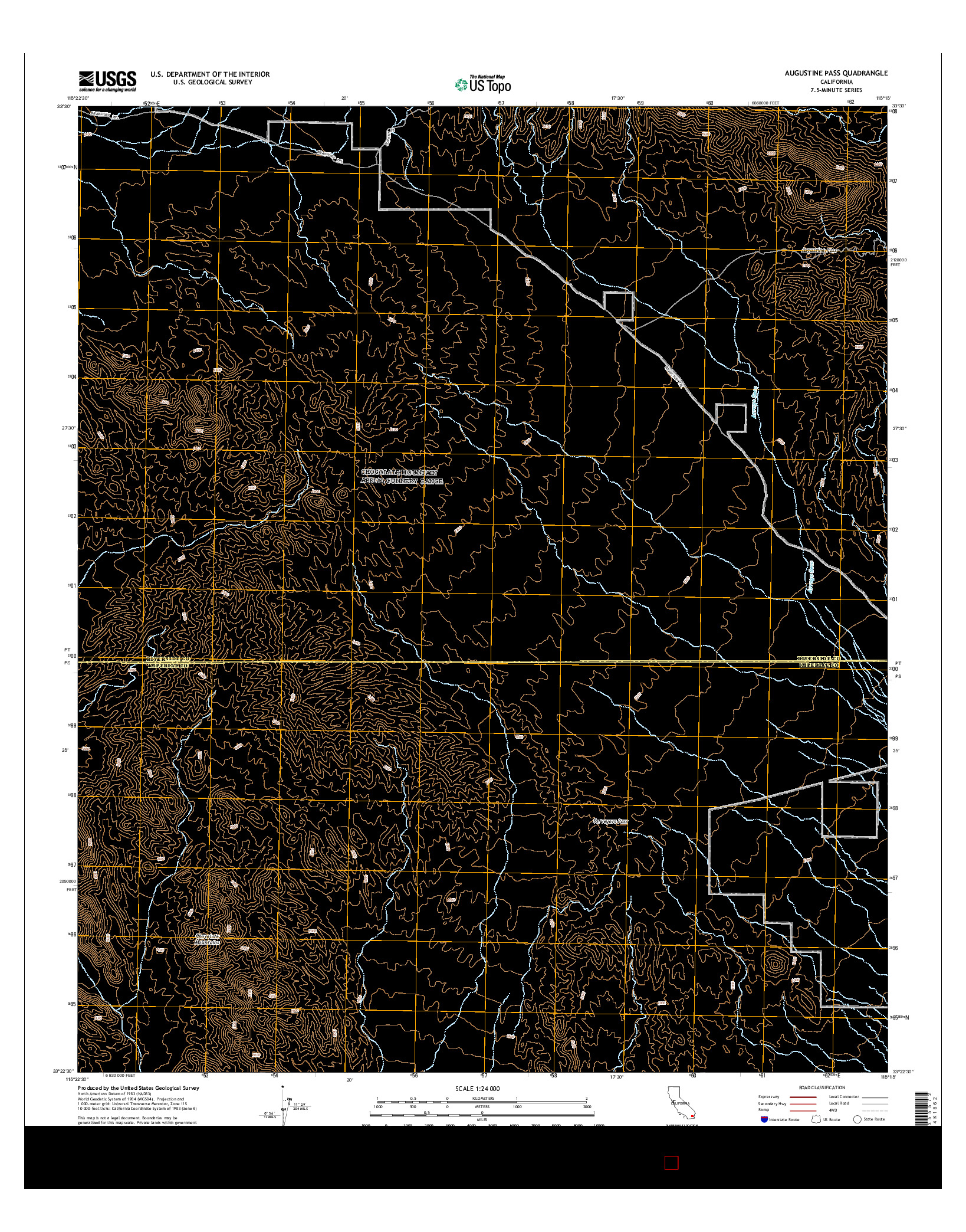 USGS US TOPO 7.5-MINUTE MAP FOR AUGUSTINE PASS, CA 2015