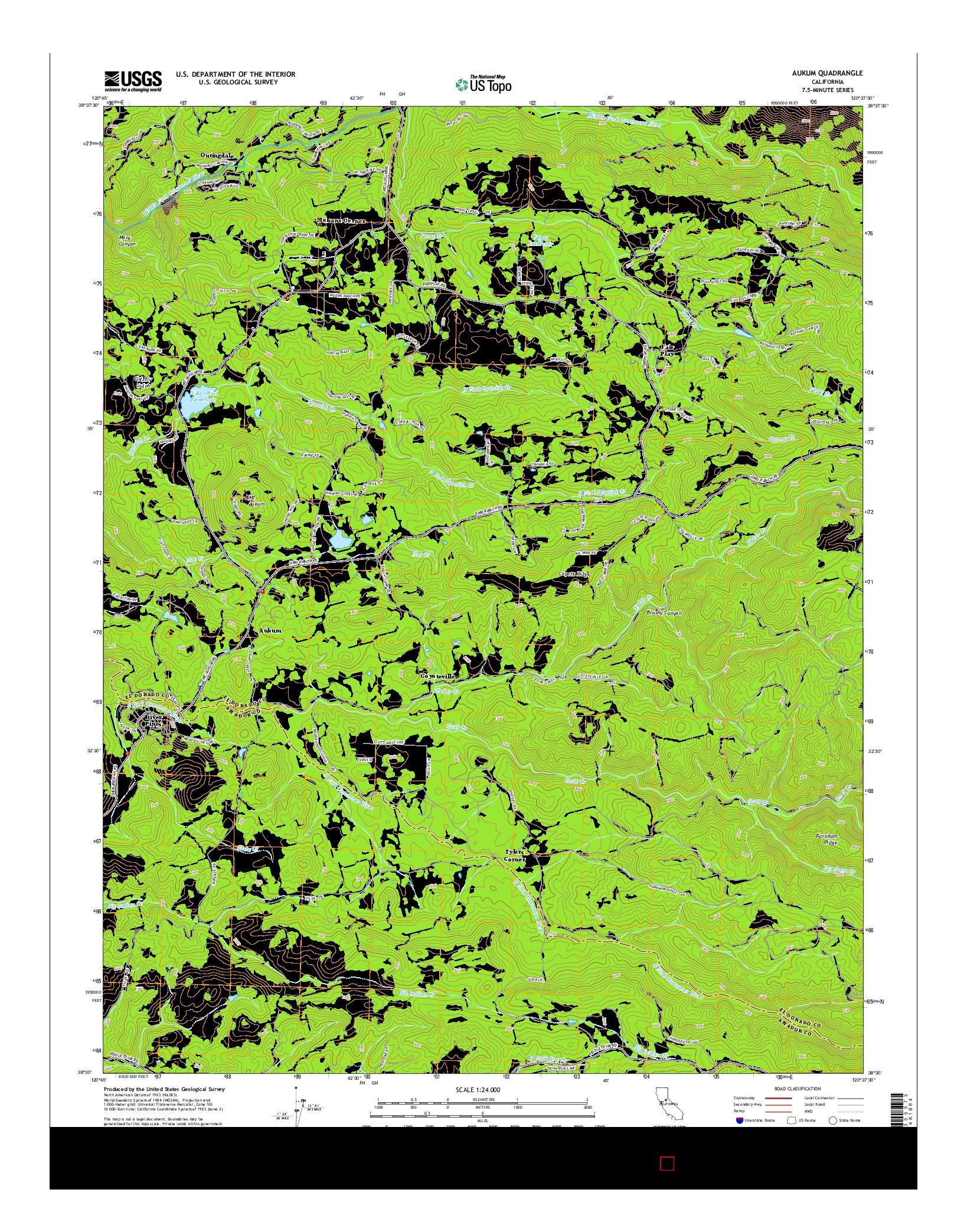 USGS US TOPO 7.5-MINUTE MAP FOR AUKUM, CA 2015