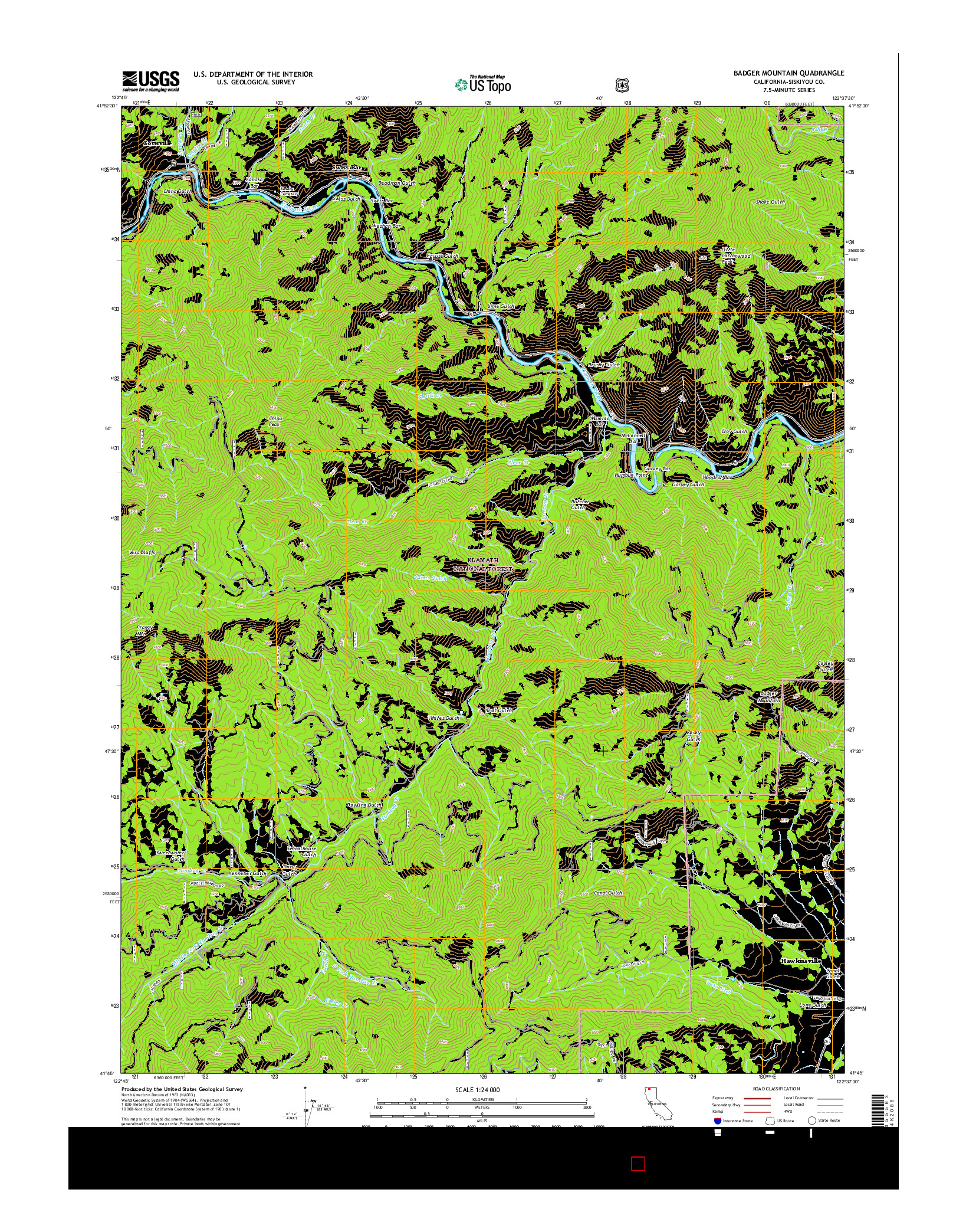 USGS US TOPO 7.5-MINUTE MAP FOR BADGER MOUNTAIN, CA 2015
