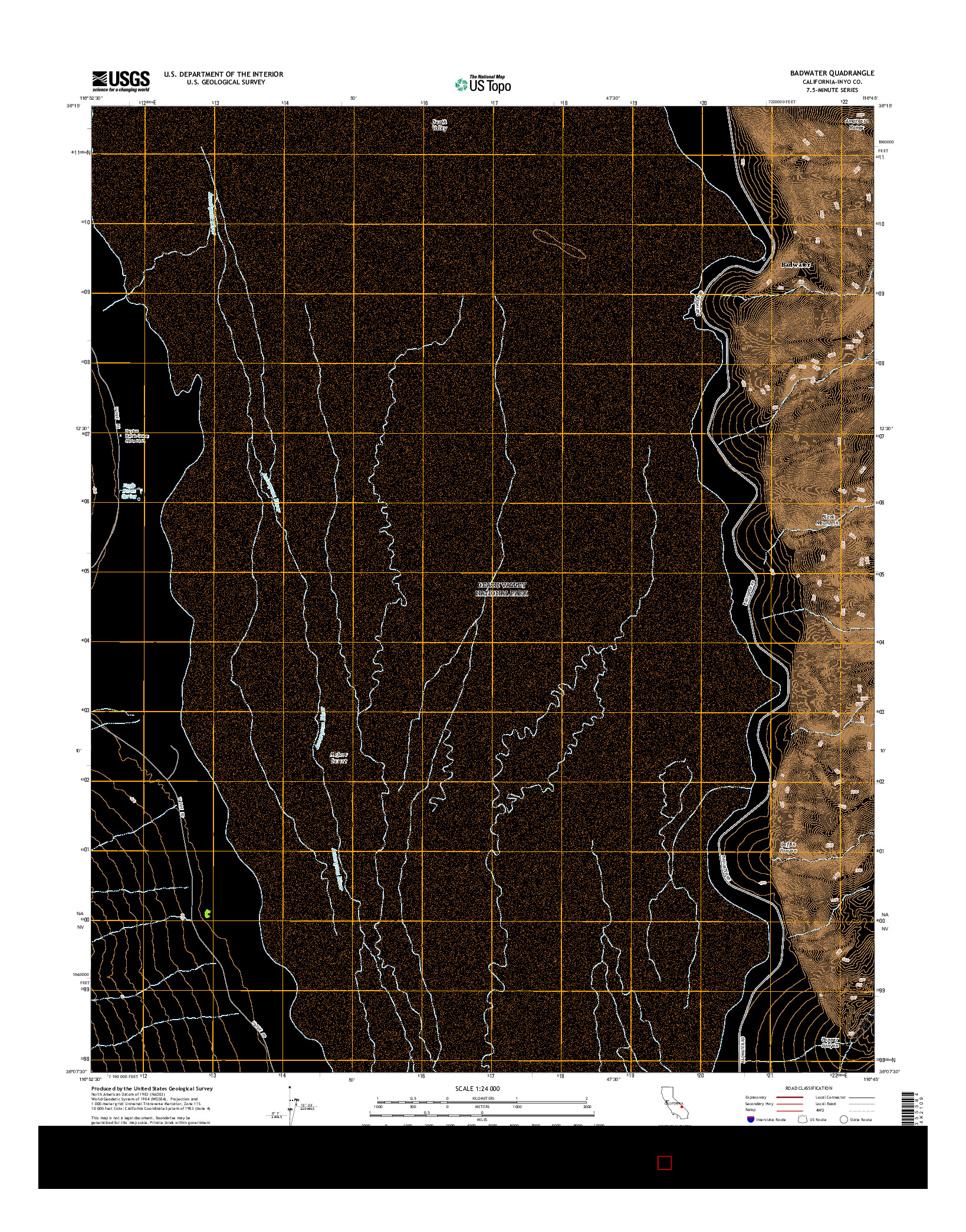 USGS US TOPO 7.5-MINUTE MAP FOR BADWATER, CA 2015