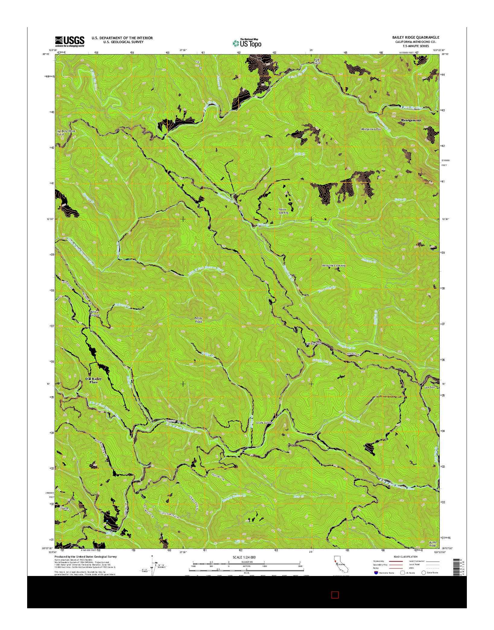 USGS US TOPO 7.5-MINUTE MAP FOR BAILEY RIDGE, CA 2015