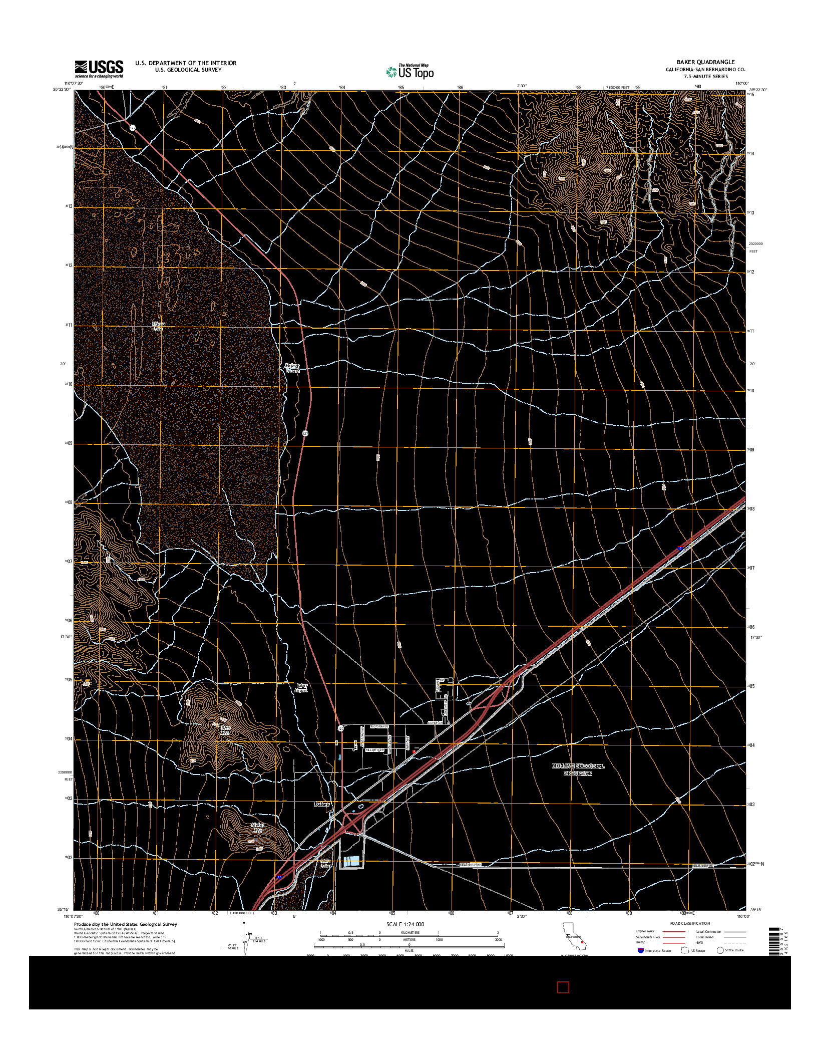USGS US TOPO 7.5-MINUTE MAP FOR BAKER, CA 2015