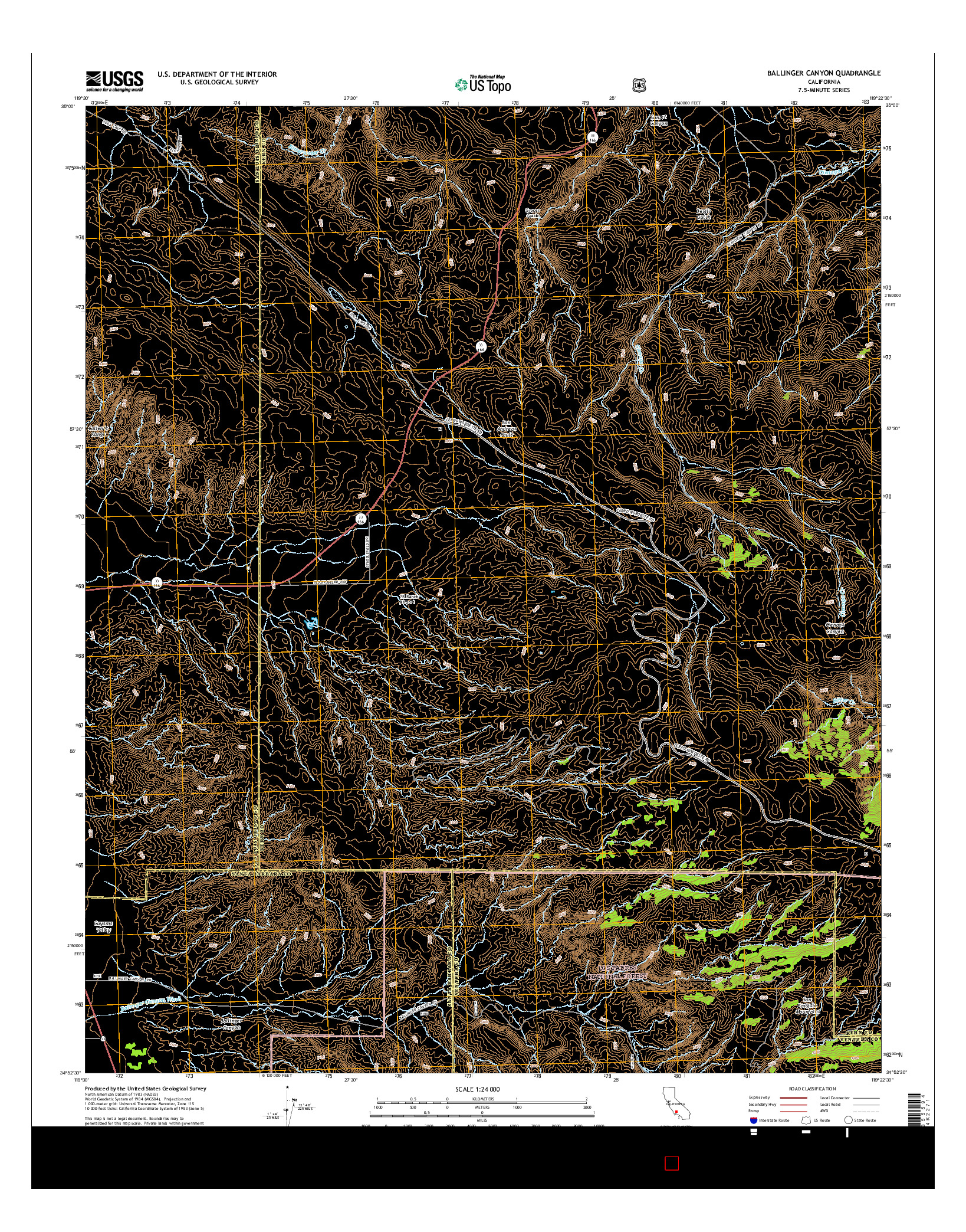 USGS US TOPO 7.5-MINUTE MAP FOR BALLINGER CANYON, CA 2015