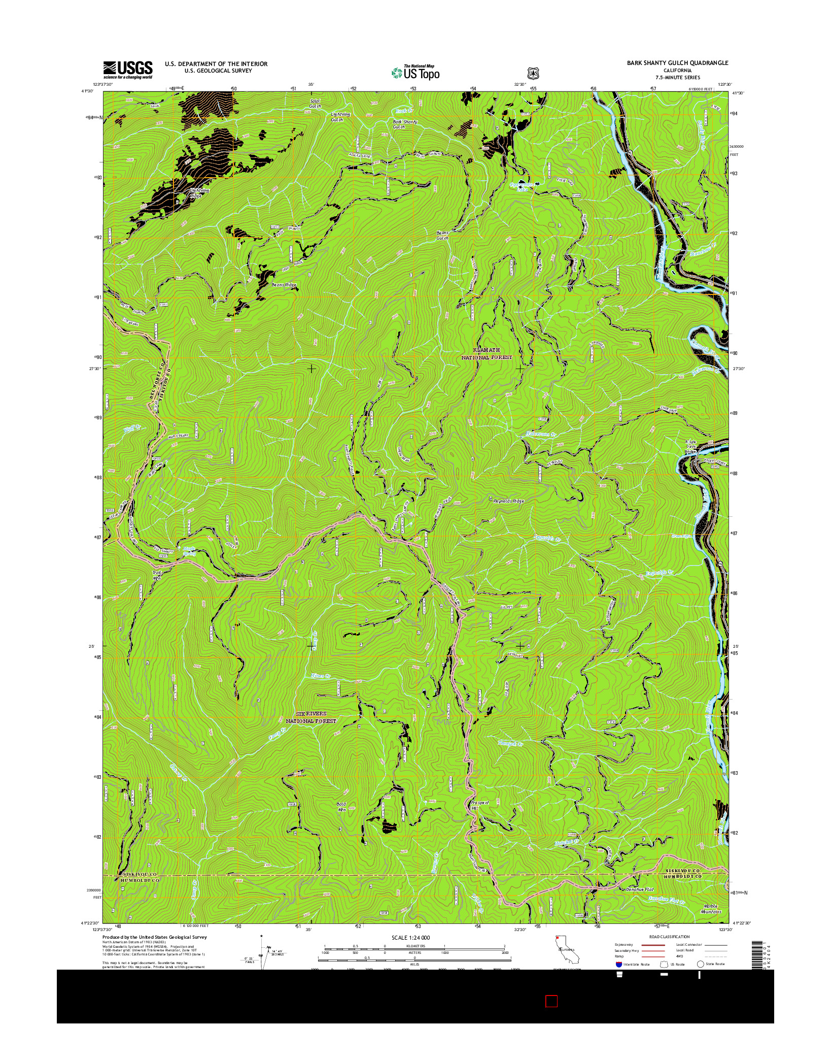 USGS US TOPO 7.5-MINUTE MAP FOR BARK SHANTY GULCH, CA 2015