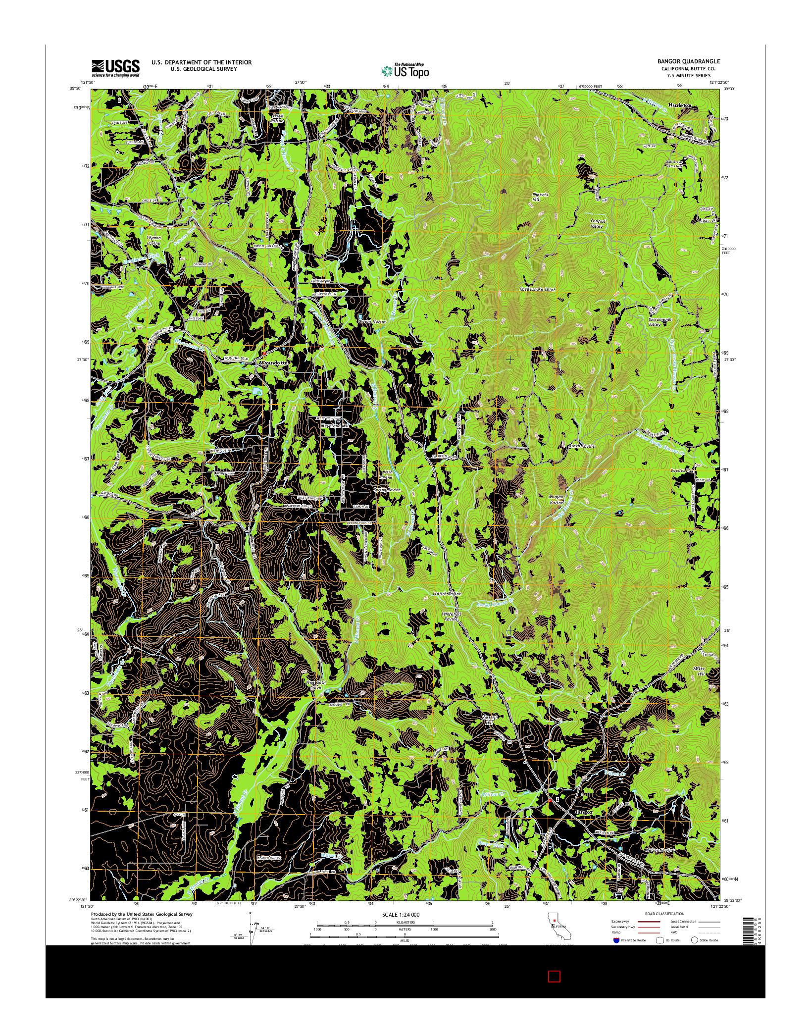 USGS US TOPO 7.5-MINUTE MAP FOR BANGOR, CA 2015